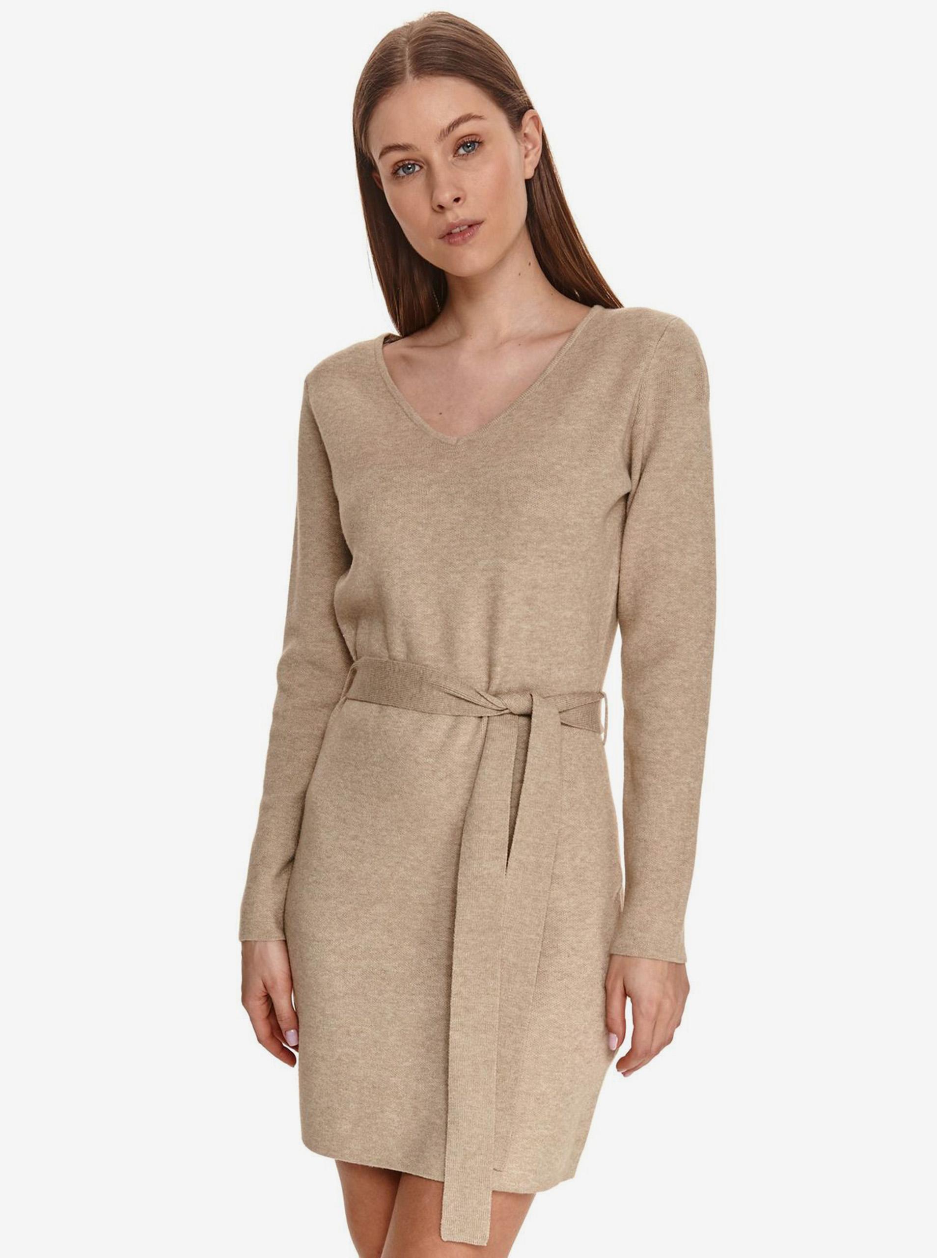 Béžové dámske šaty so zaväzovaním v páse TOP SECRET - L
