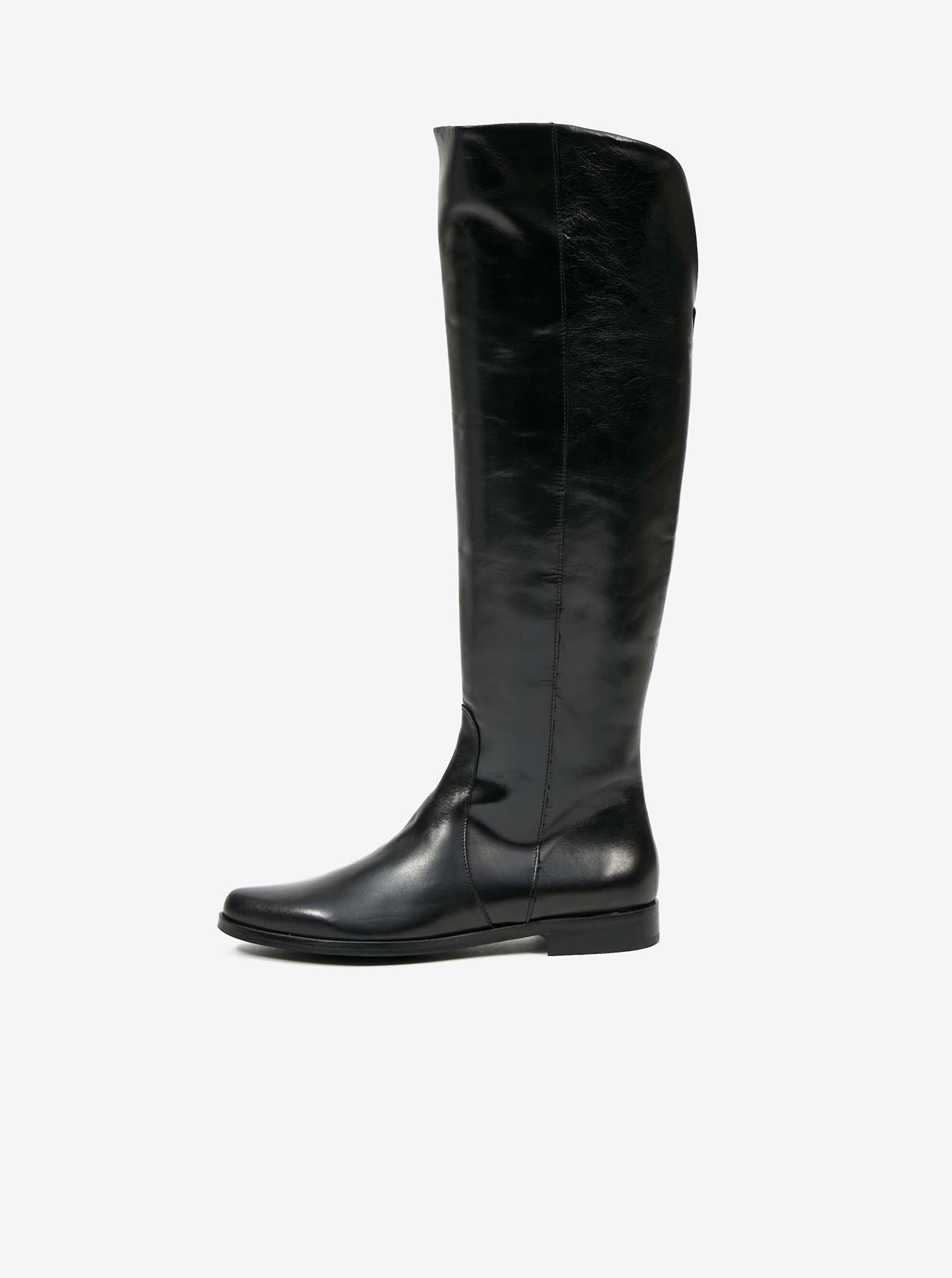 Čierne kožené čižmy OJJU - 41