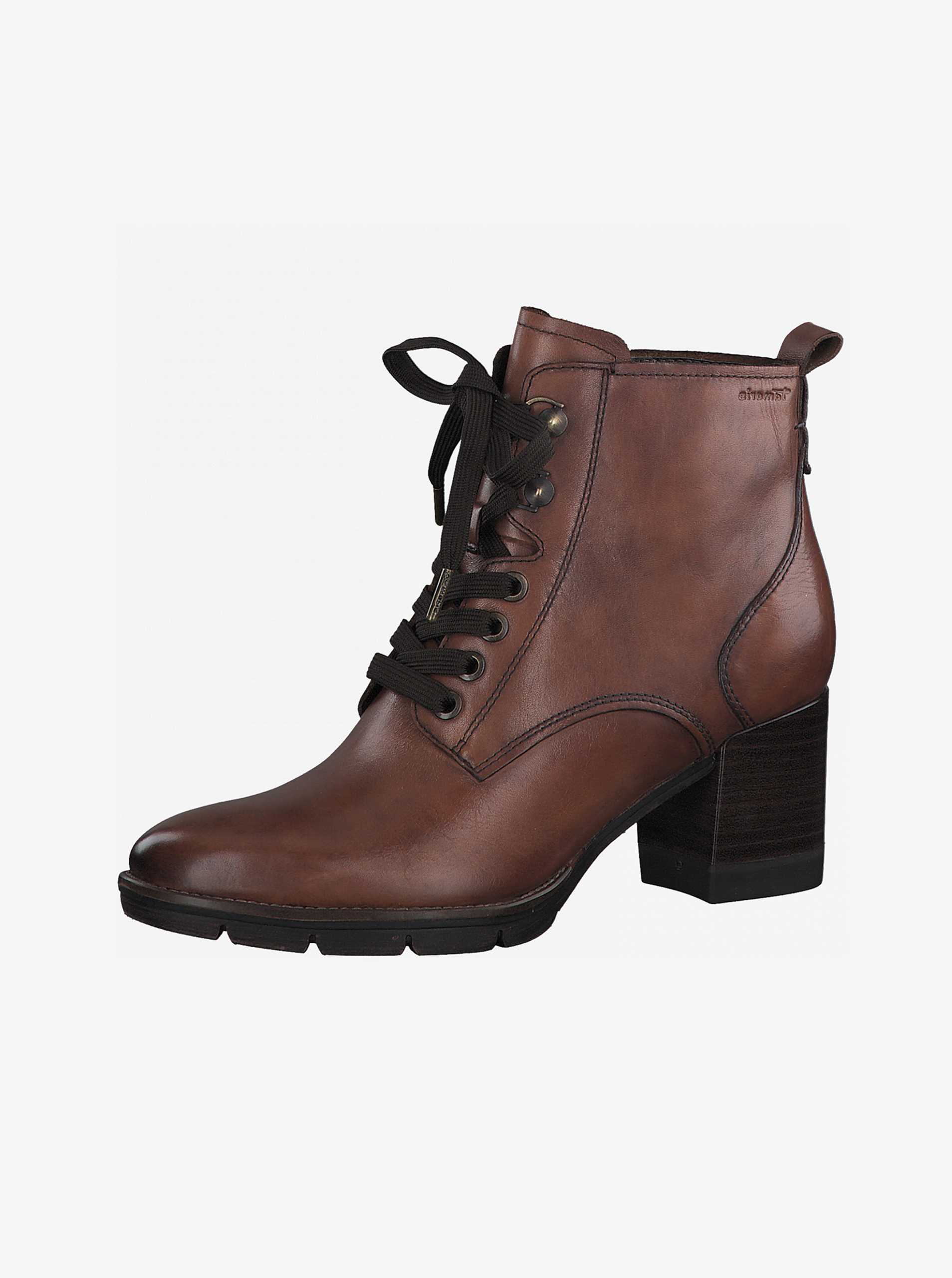 Hnedé kožené členkové topánky na podpätku Tamaris - 36