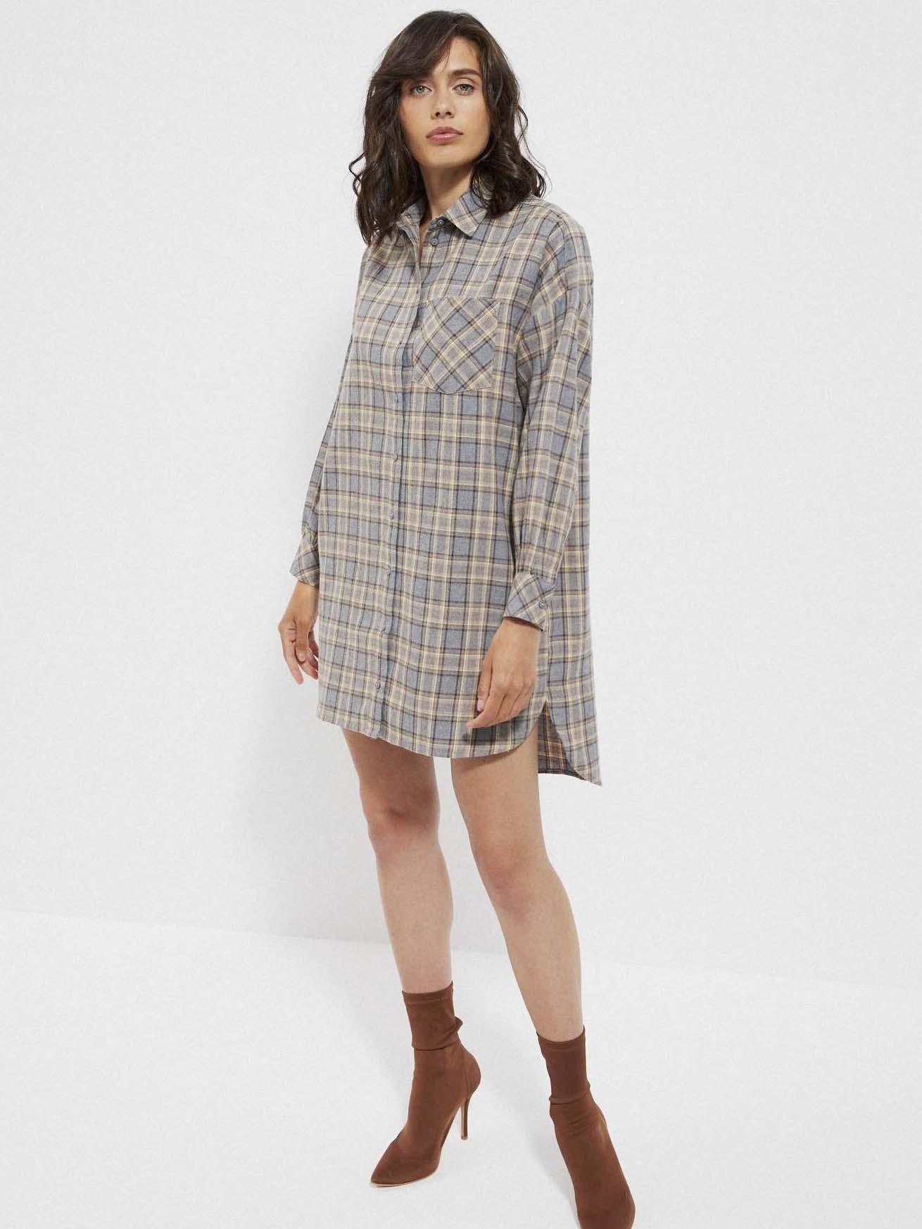 Béžovo-šedé dámske košeľové kockované šaty Moodo - XS