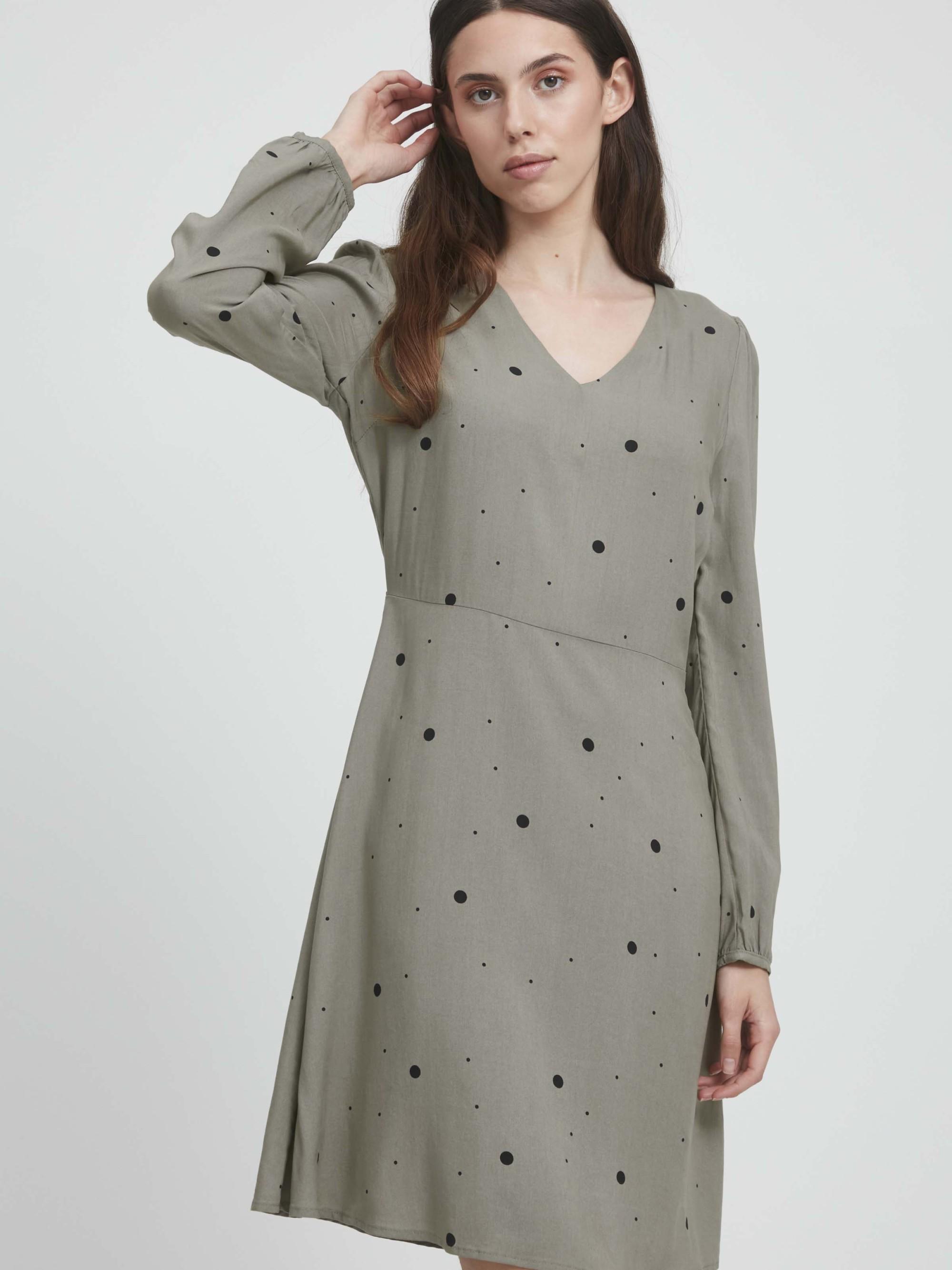 Šedé dámske bodkované šaty ICHI - XS