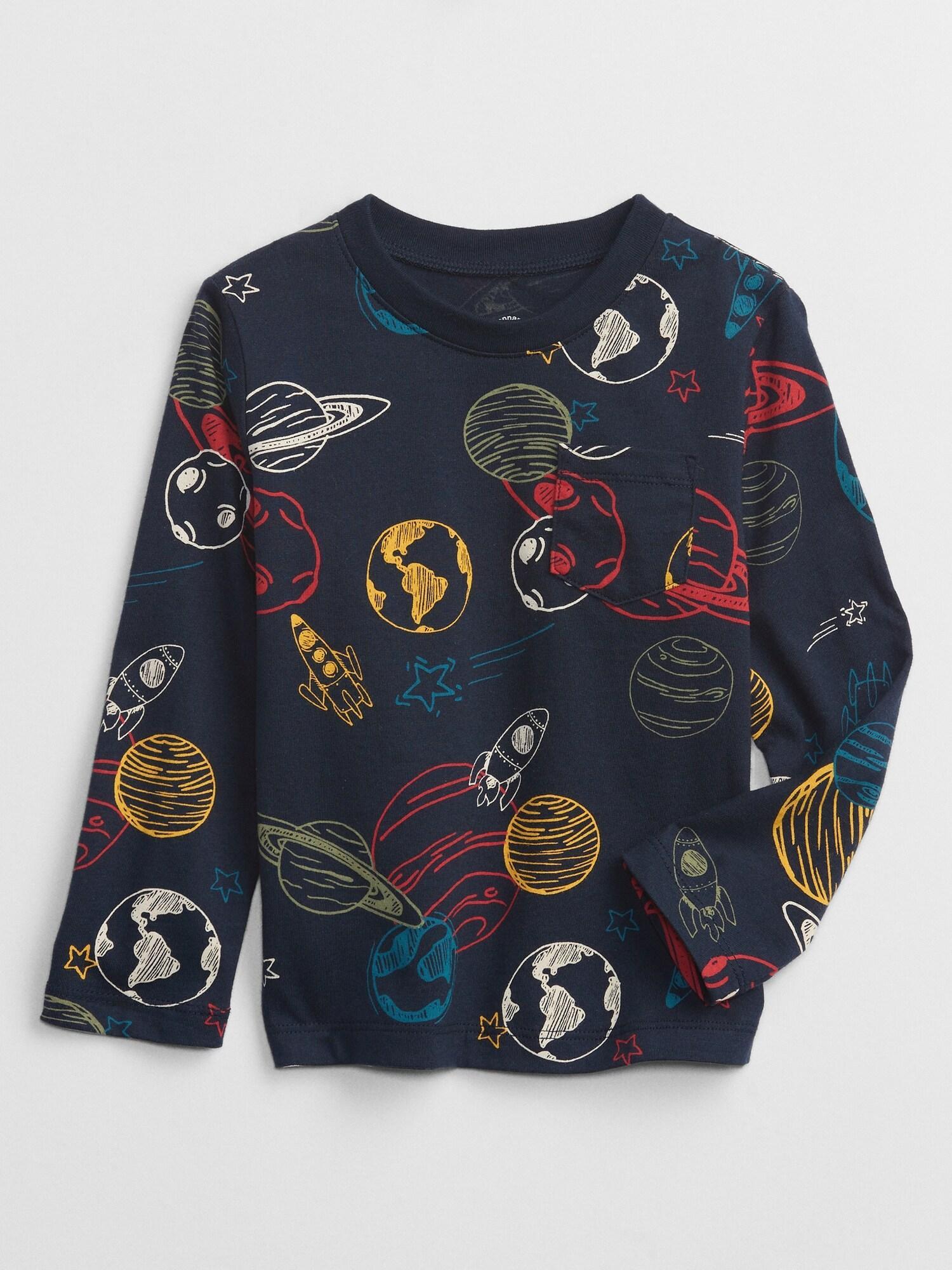 Modré chlapčenské tričko s dlhým rukávom GAP - 92