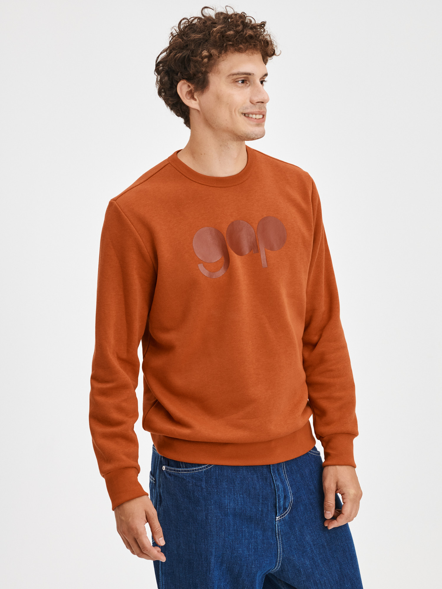 Oranžová pánska mikina s kapucňou a logom GAP - XXL