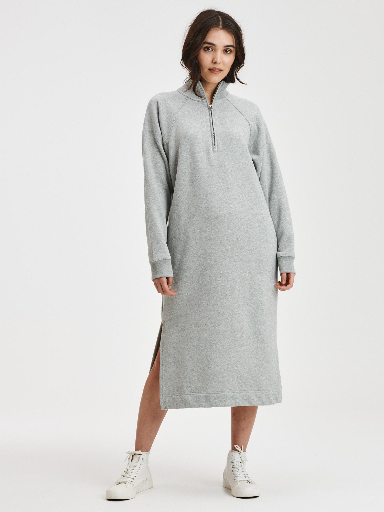 Šedé dámske midi mikinové šaty na zips GAP - L