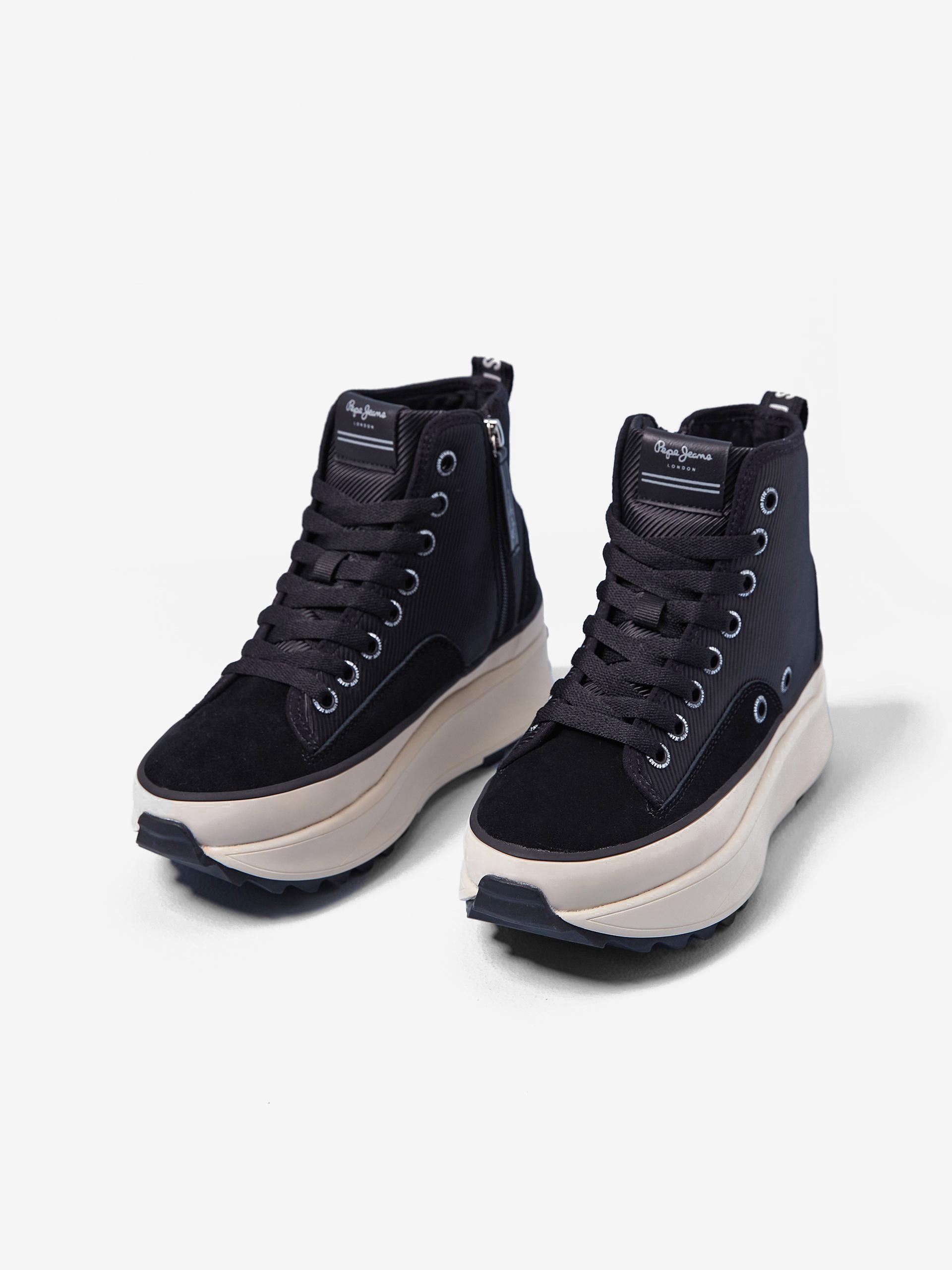 Čierne členkové topánky na platforme Pepe Jeans Woking - 36