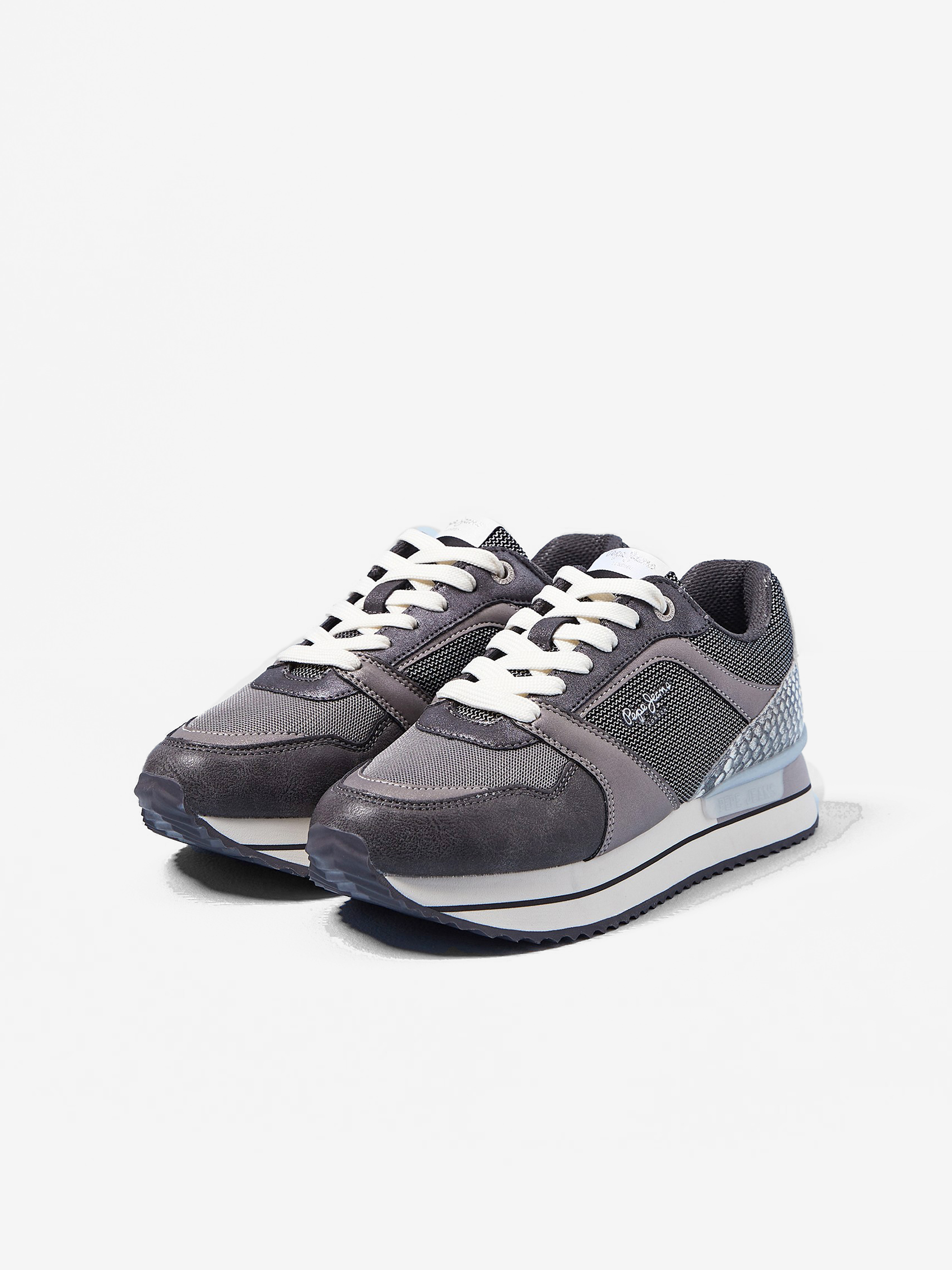 Sivé dámske tenisky na platforme Pepe Jeans Rusper - 36