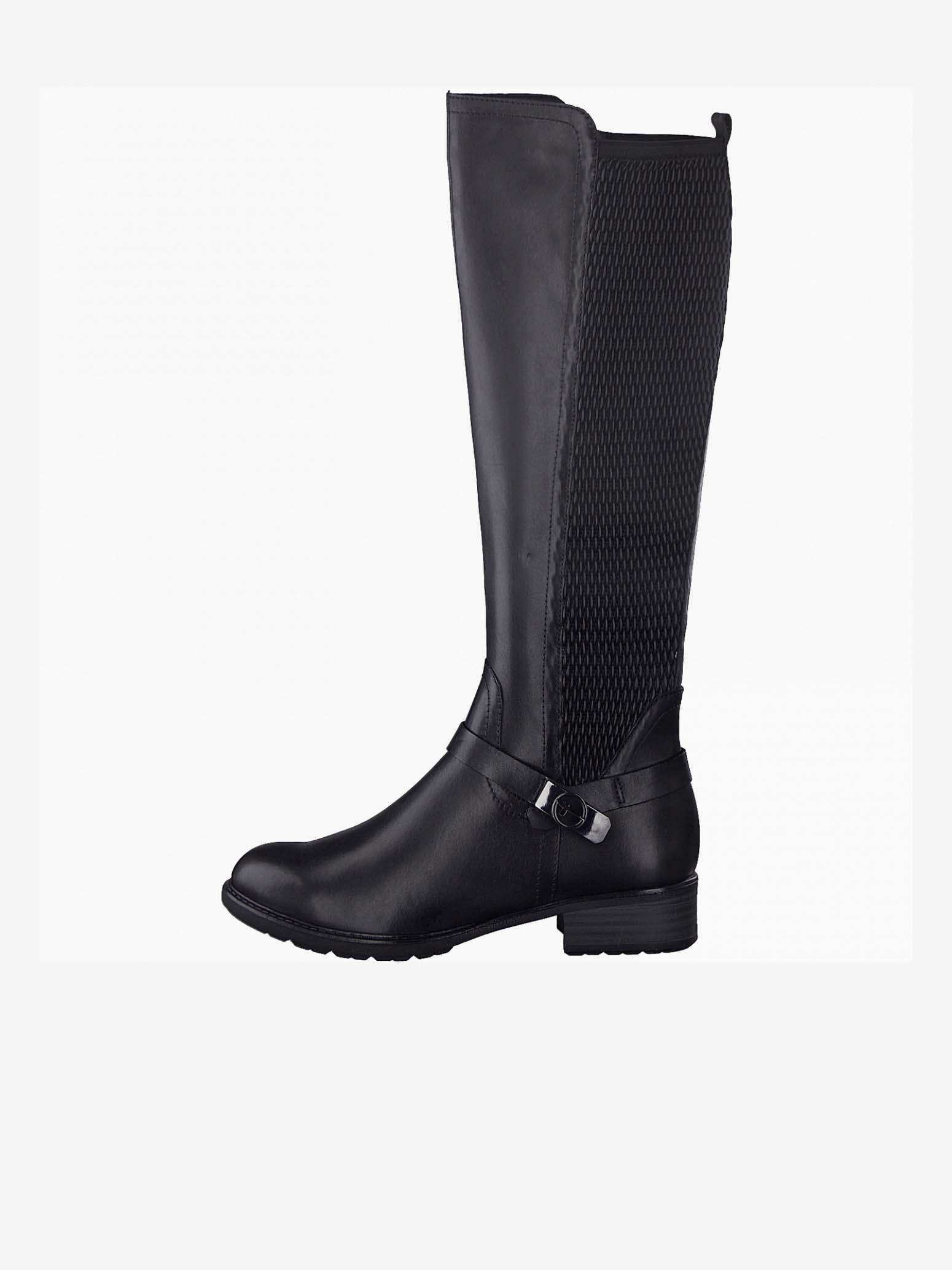 Čierne dámske vysoké kožené čižmy Tamaris - 38
