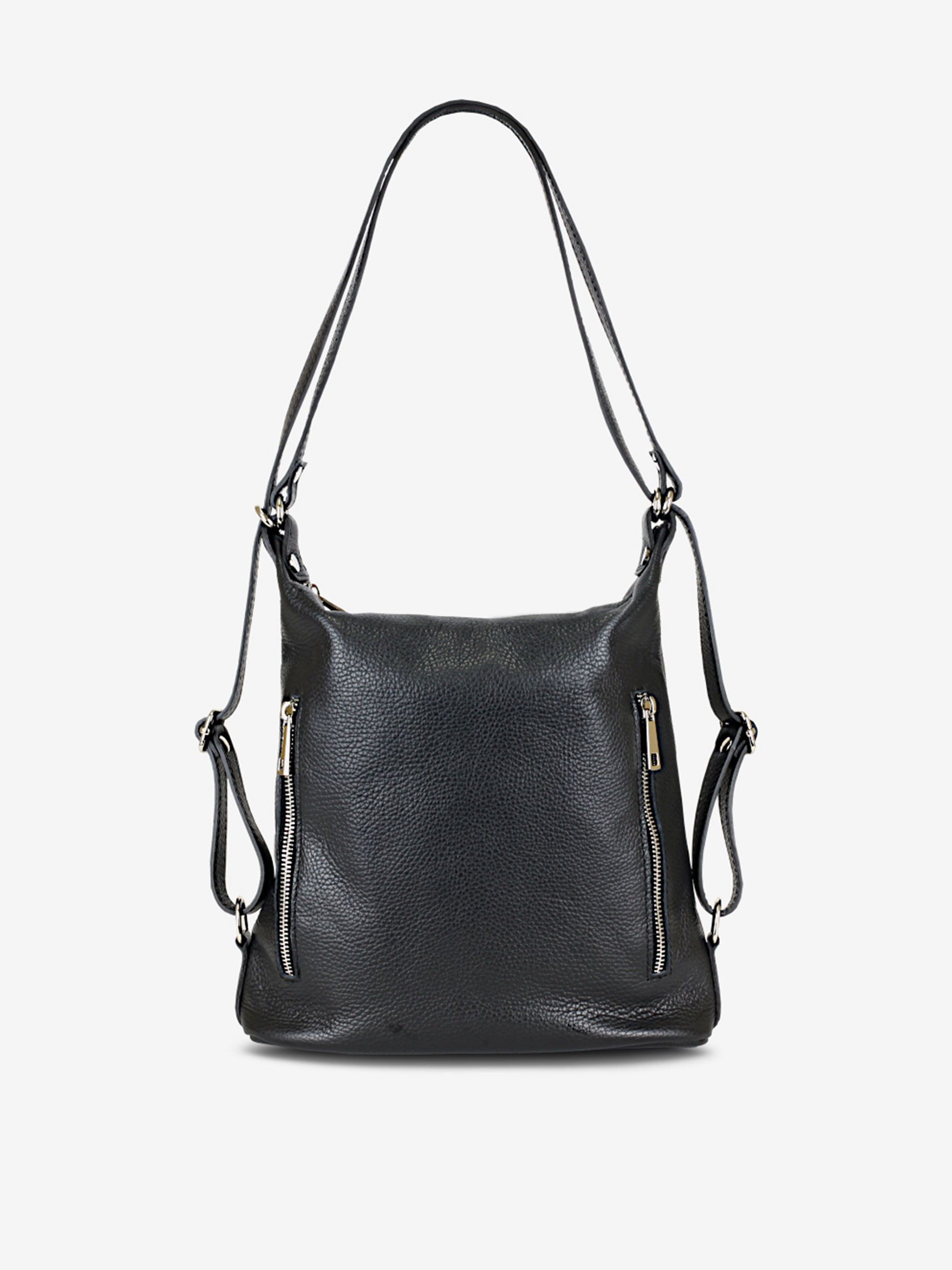 Čierna dámska kožená kabelka/batoh KARA
