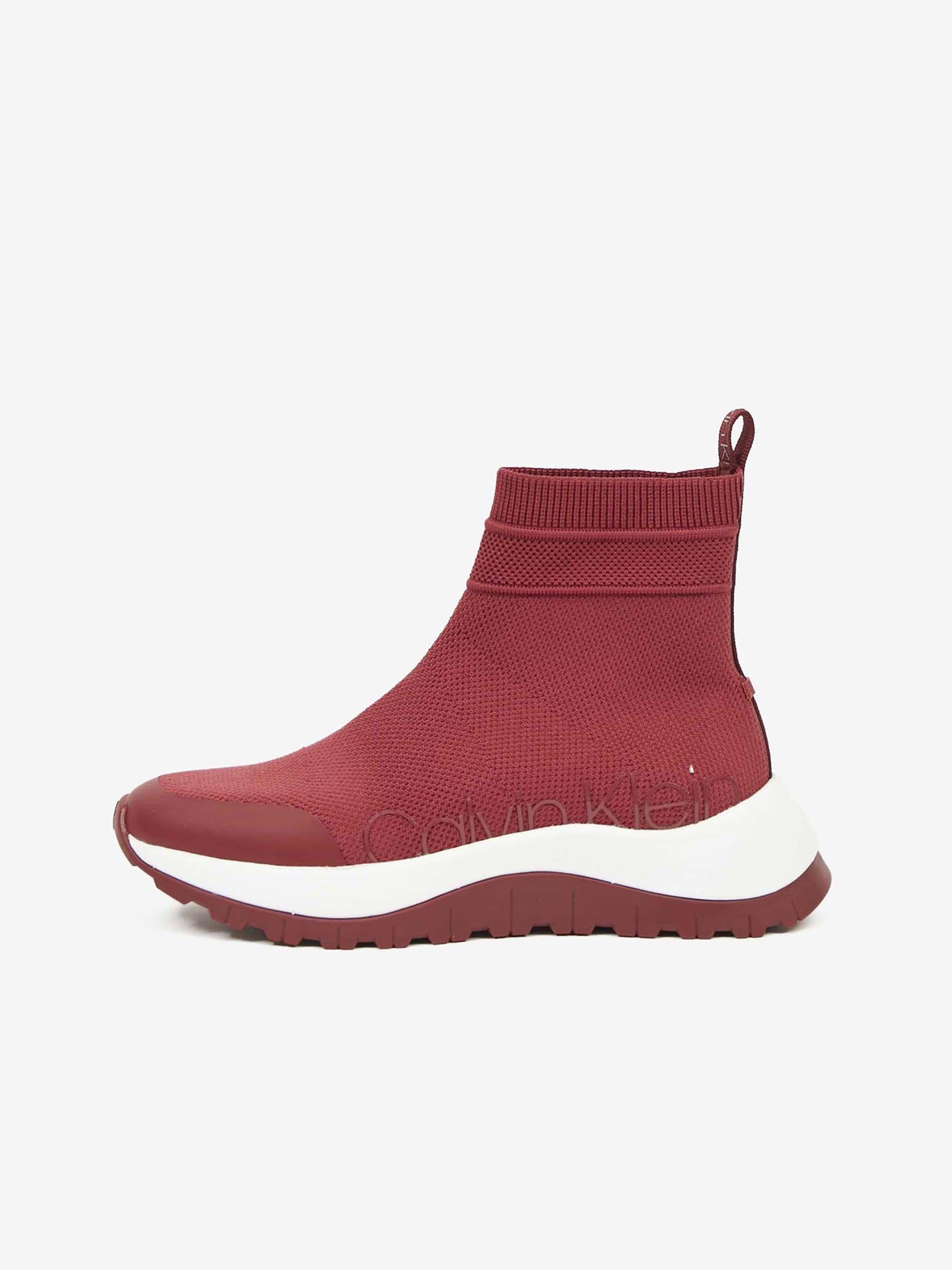 Červené dámske ponožkové tenisky na platforme Calvin Klein - 36