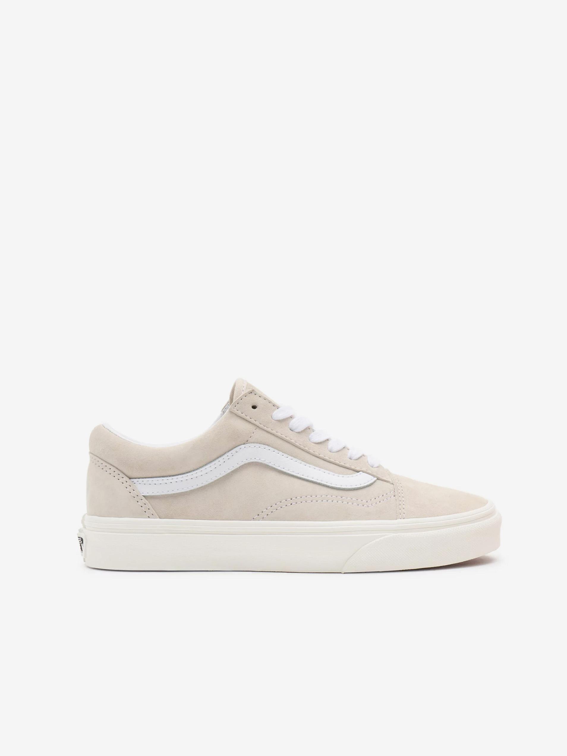 Bielo-béžové pánske semišové topánky VANS Old Skool - 36