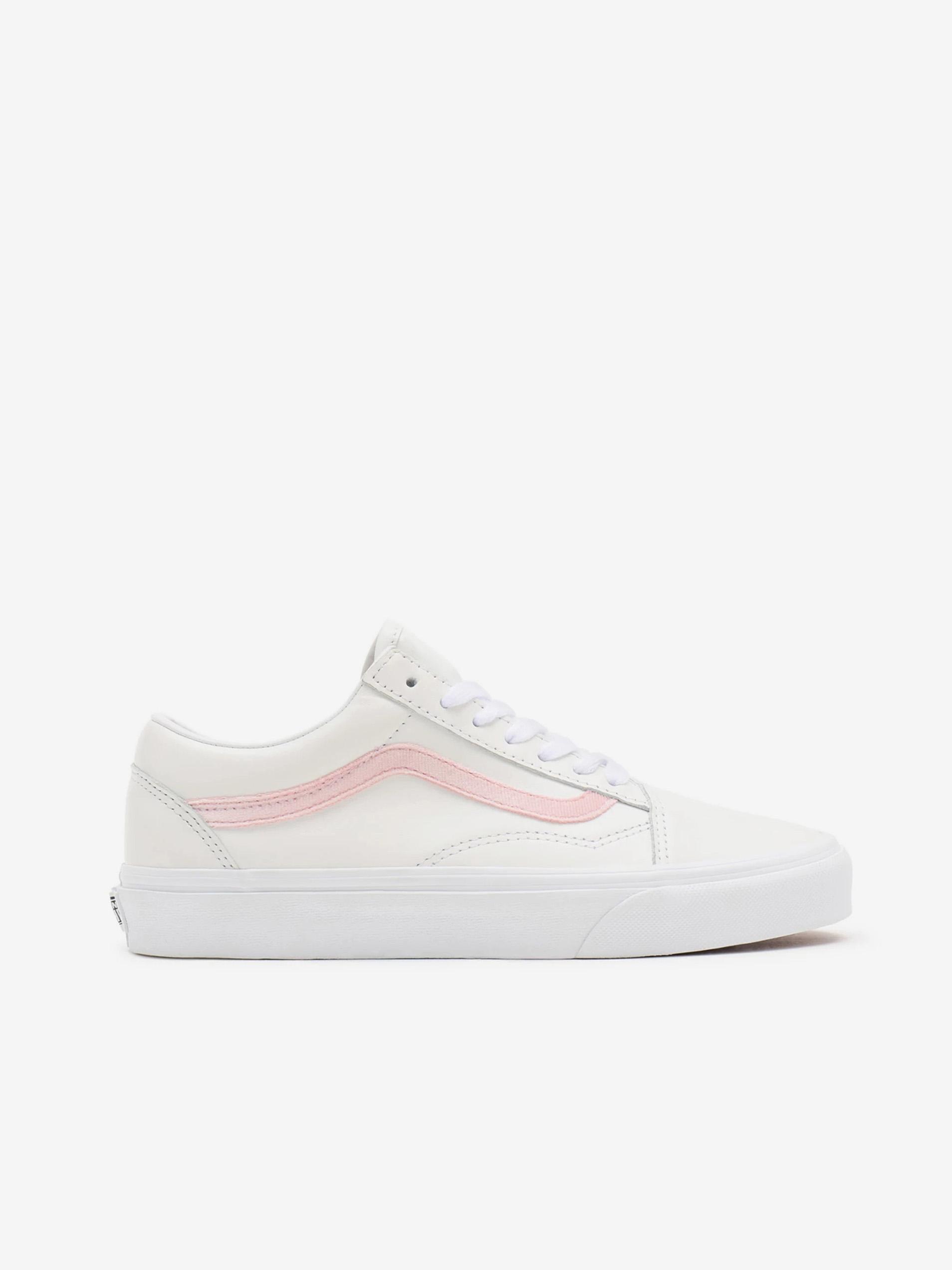 Ružovo-biele pánske kožené topánky VANS Old Skool - 35