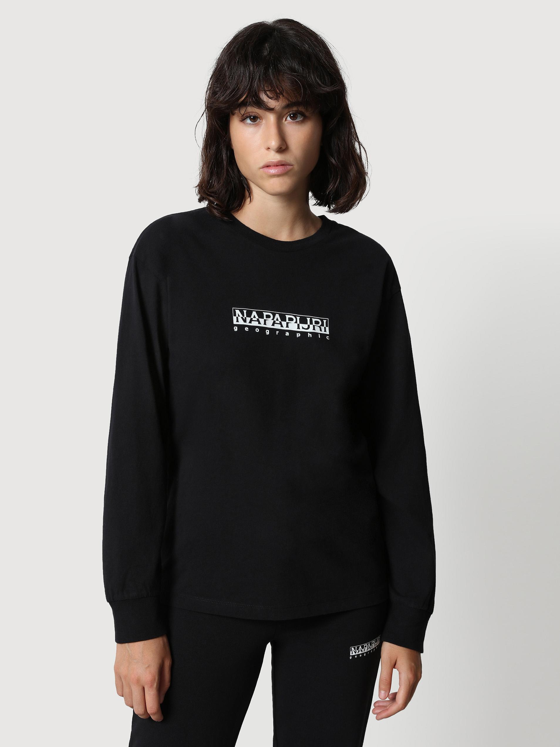 Čierne dámske tričko s nápisom NAPAPIJRI S-box W LS 2 - M