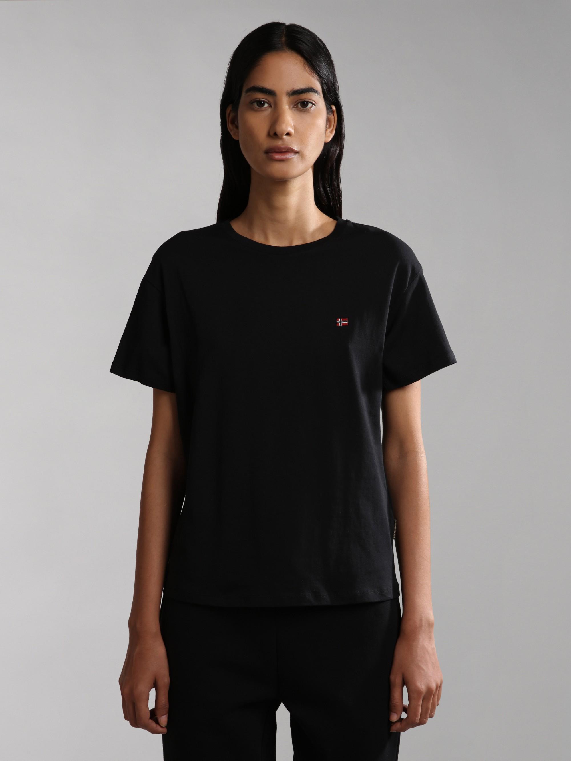 Čierne dámske tričko s výšivkou NAPAPIJRI Salis SS W 2 - M