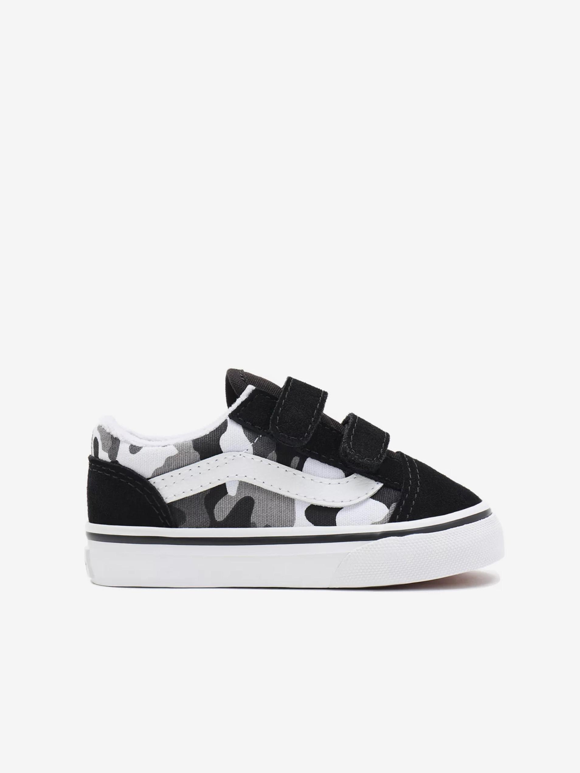 Bielo-čierne chlapčenské semišové topánky VANS Old Skool -