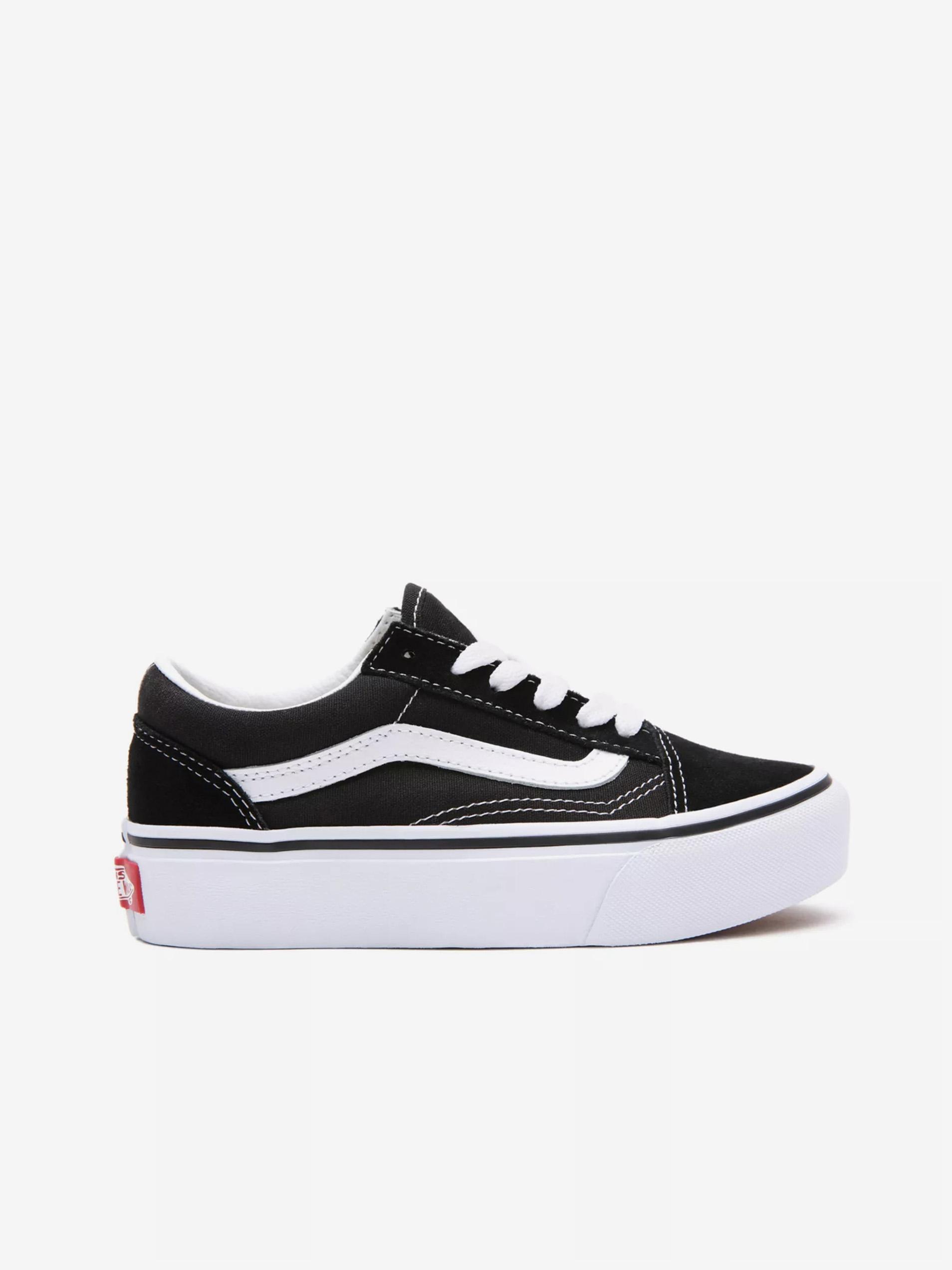 Bielo-čierne chlapčenské semišové topánky VANS Old Skool Platfor - 31