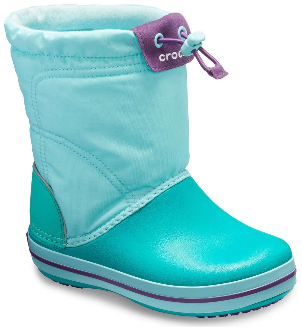 Crocs tyrkysové snehule Crocband Lodgepoint Boot Ice Blue/Tropical Teal - 24/25