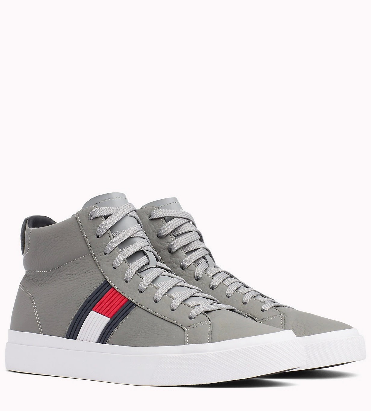 feeeac6326 Tommy Hilfiger sivé kožené unisex tenisky Flag Detail High Leather Sneaker  Light Grey - 45