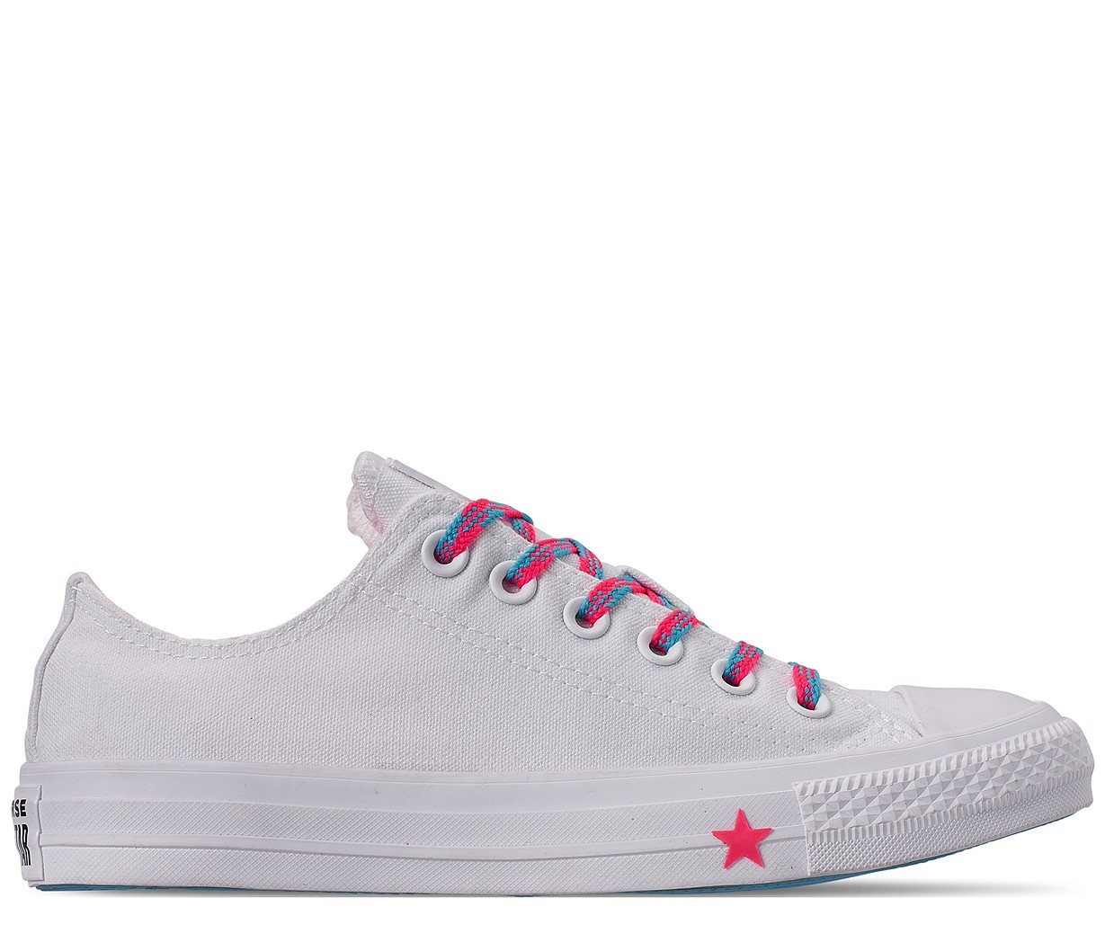 8771c41ec Converse biele tenisky Chuck Taylor All Star OX White/Race Pink/Gnarly Blue  -