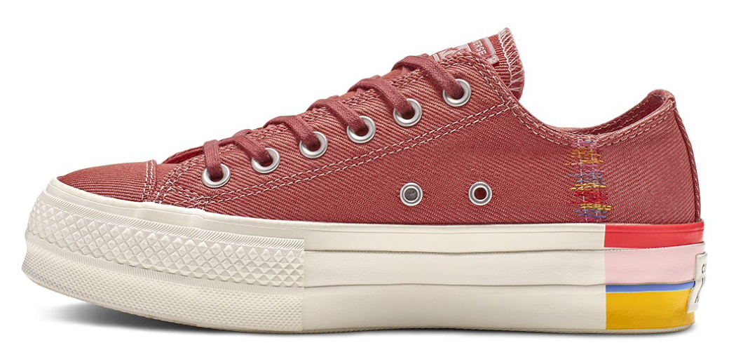 Converse vínové denimové tenisky na platforme Chuck Taylor All Star Lift Ox Coastal Pink/Light Redwood