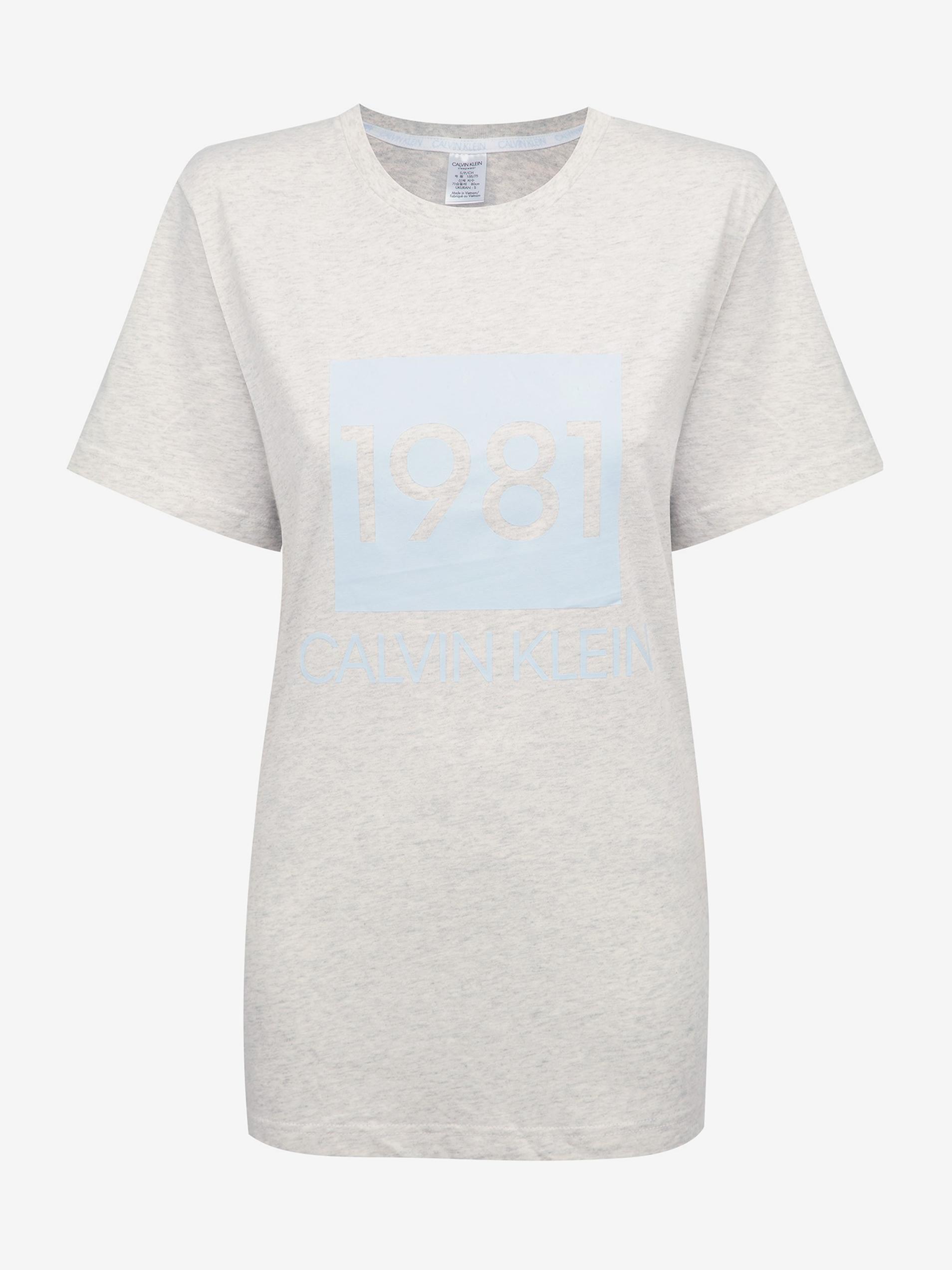 Calvin Klein sivé dámske tričko S/S Crew Neck s logom