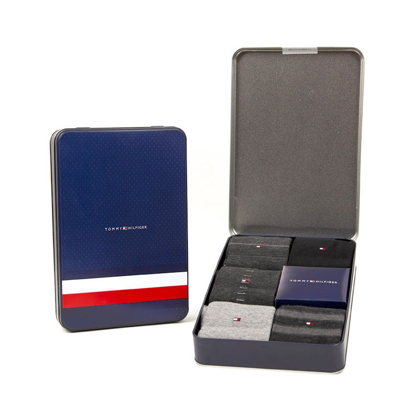 Tommy Hilfiger čierne ponožiek TH Men Sharp Stripes Giftbox 5P
