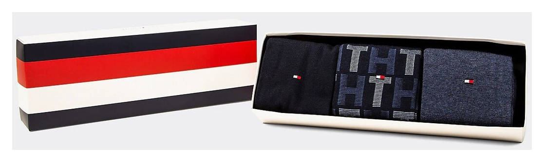 Tommy Hilfiger 3 pack ponožky TH Men Mixed Stripes Giftbox 3P