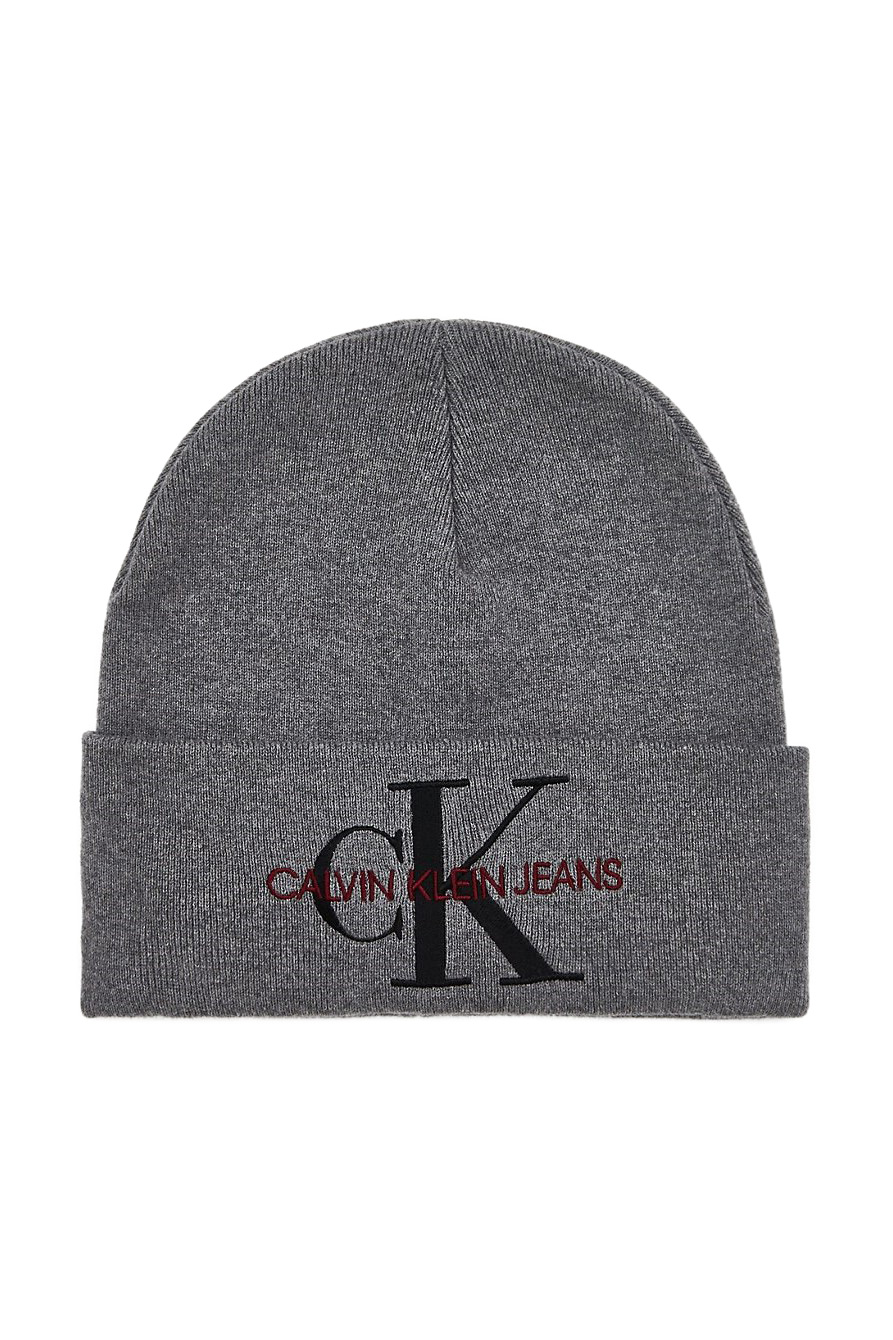 Calvin Klein sivá unisex čiapka J Basic Women Knitted Beanie Mid Grey Heather