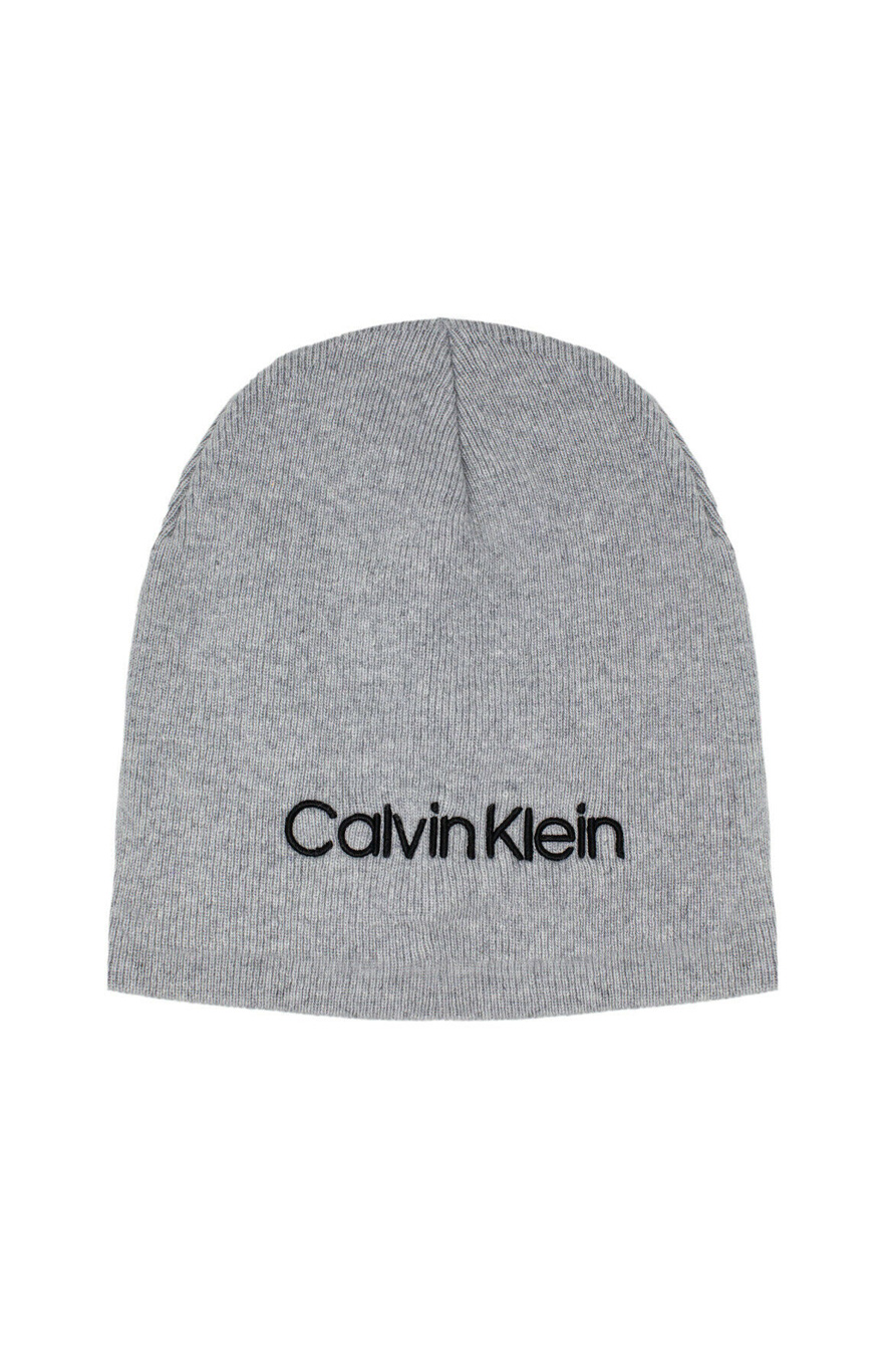 Calvin Klein sivé unisex čiapka Classic Beanie W Light Grey Heather