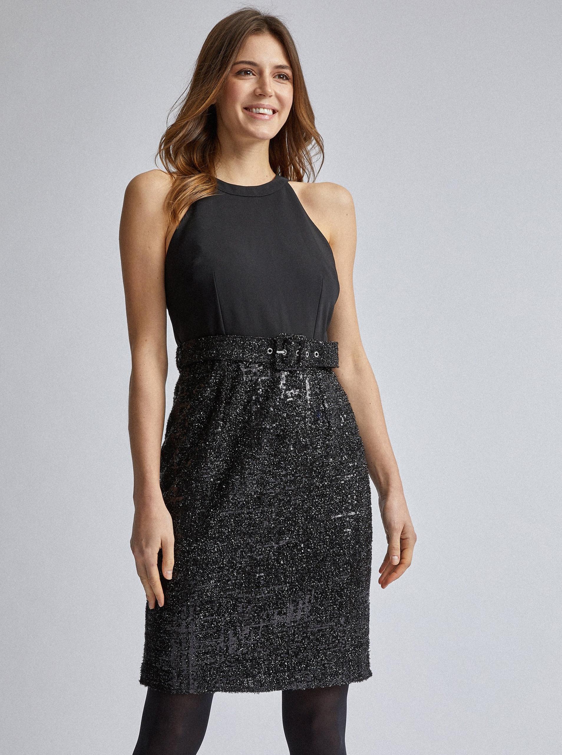 Čierne púzdrové šaty s flitrami Dorothy Perkins - S