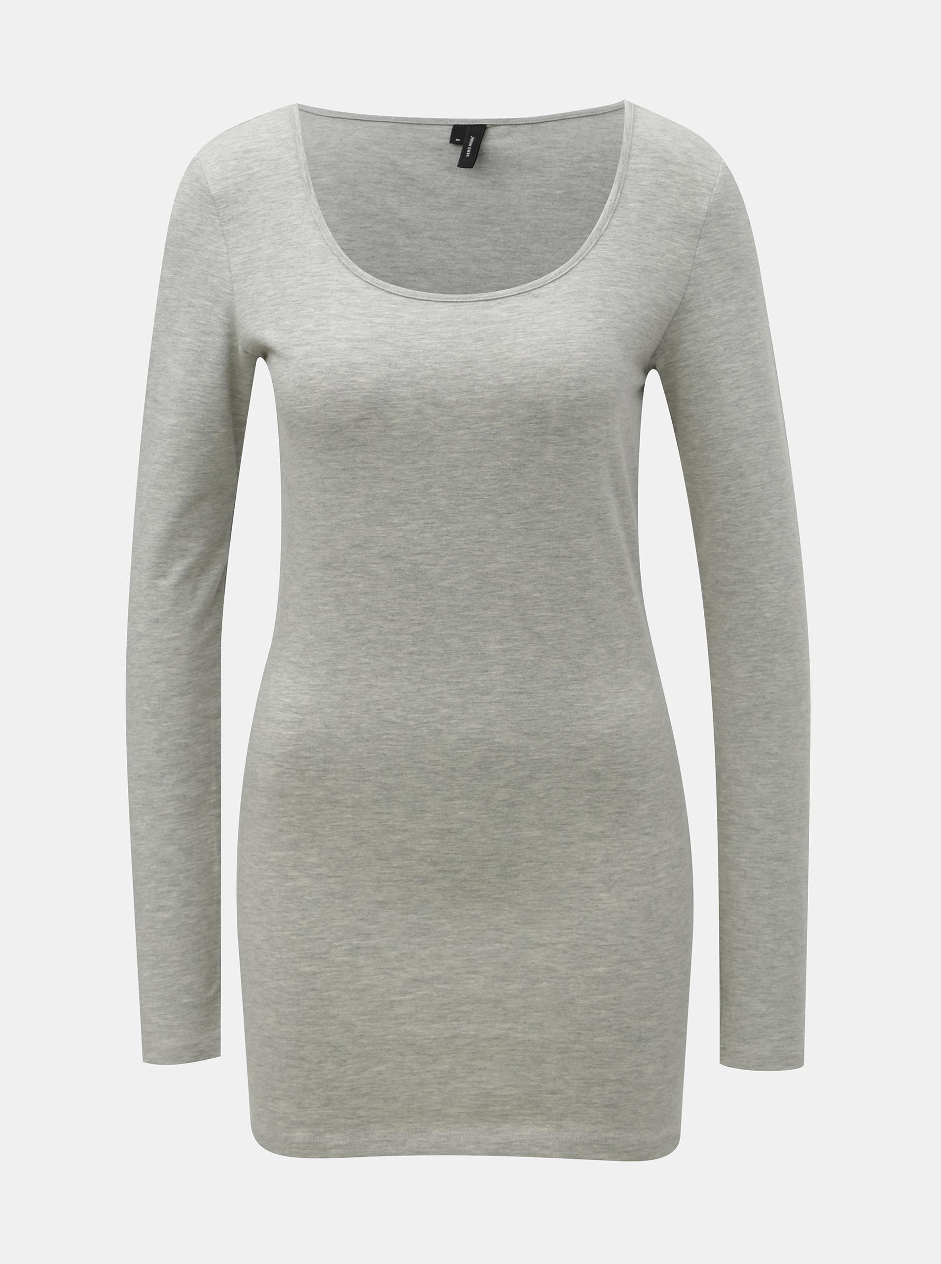 Sivé melírované basic tričko s dlhým rukávom VERO MODA Maxi - XS