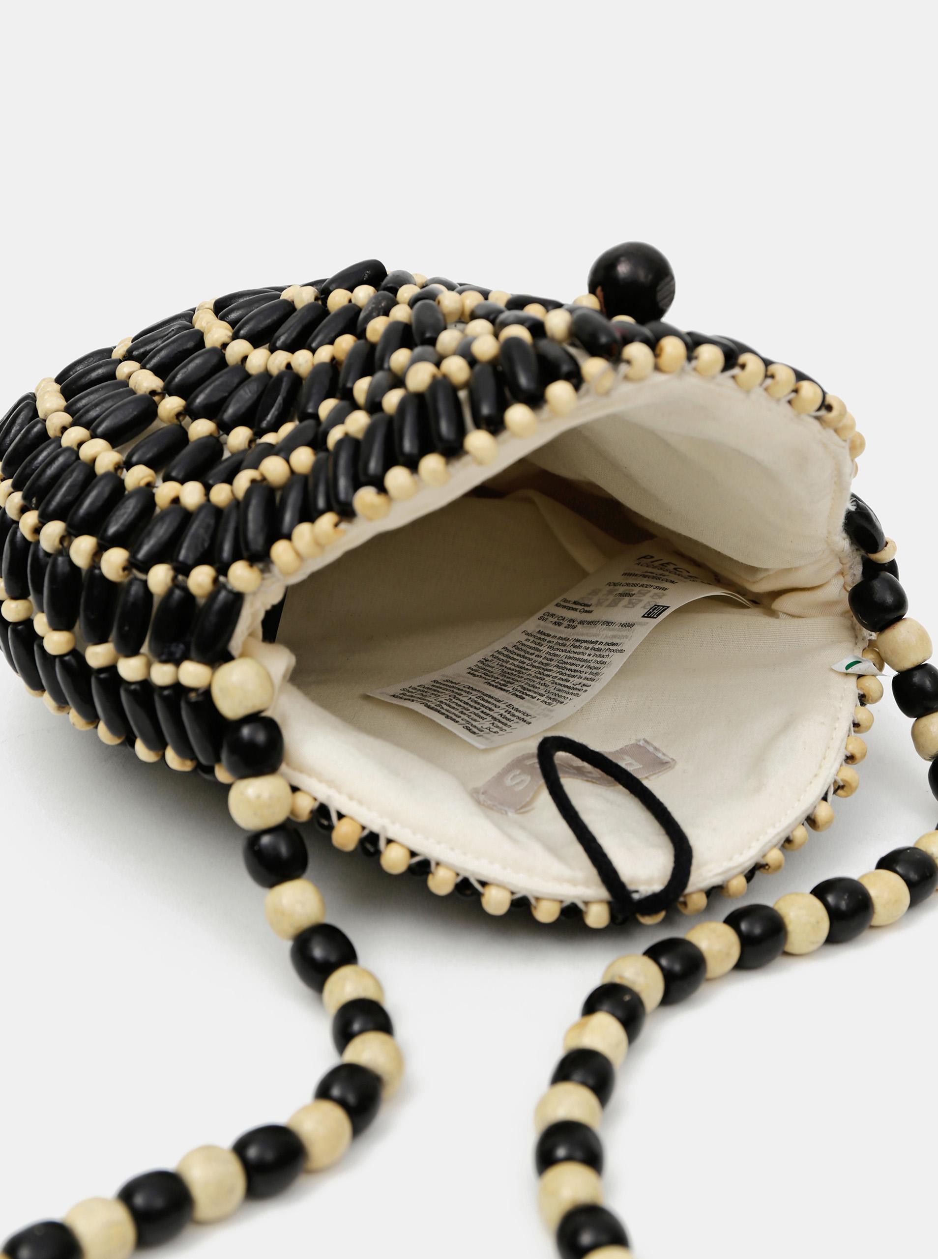 Čierno-béžová drevená crossbody kabelka Pieces Nea