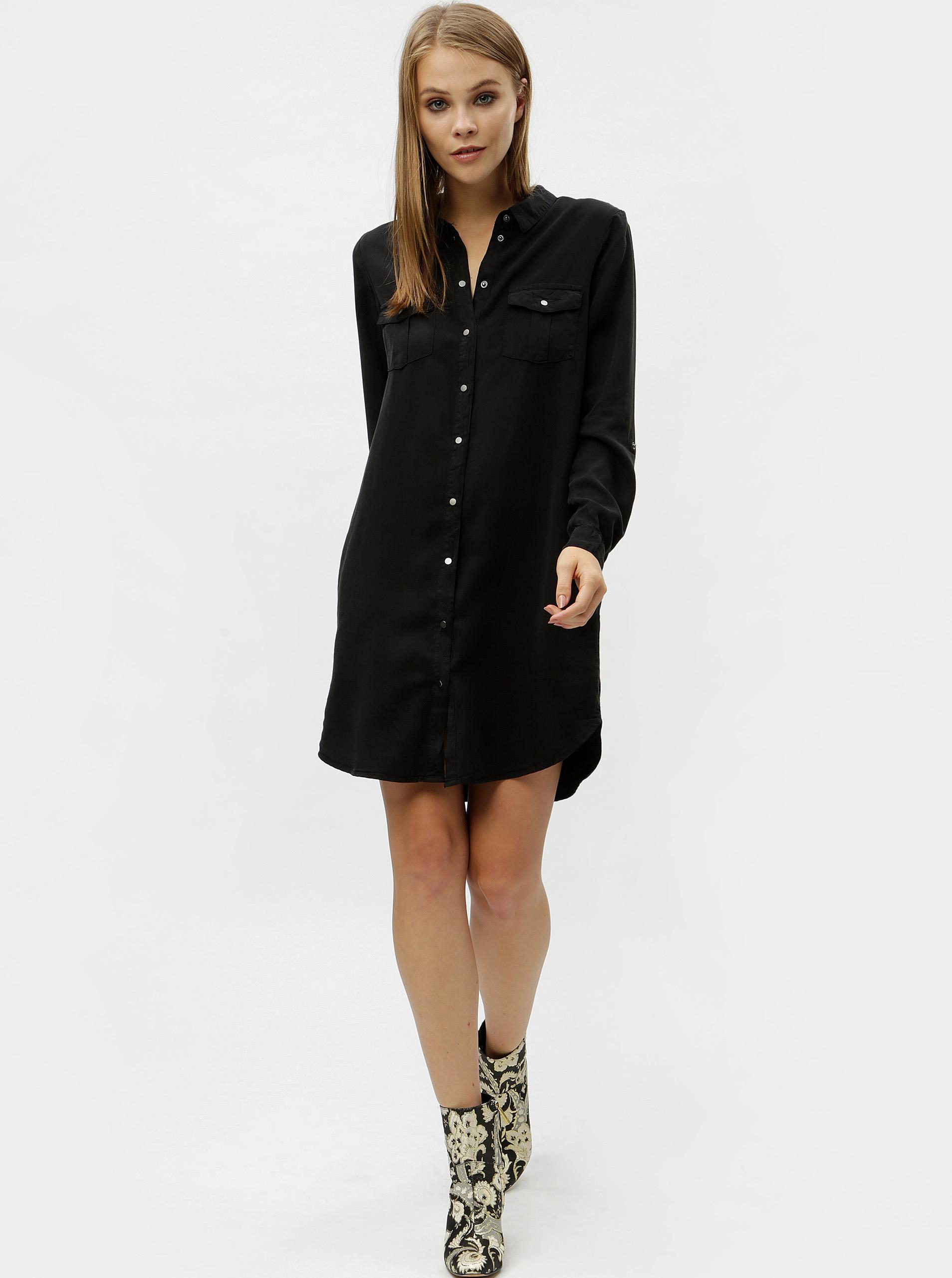 Vero Moda čierne košeľové šaty s vreckami - XS