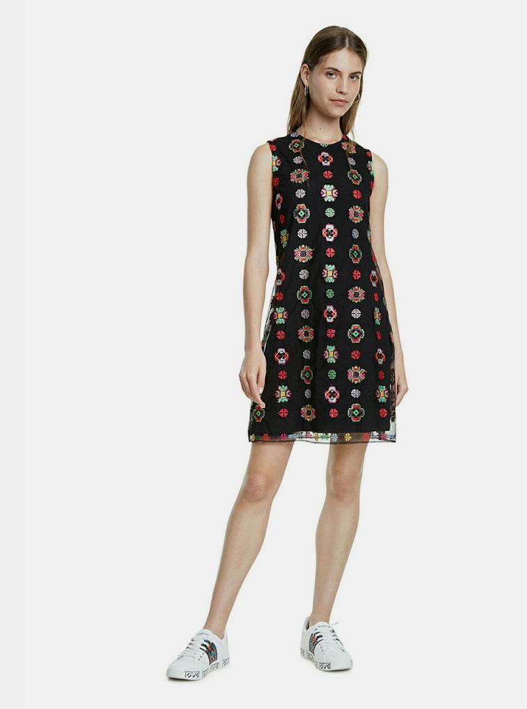 Čierne vzorované šaty Desigual Tresor - S