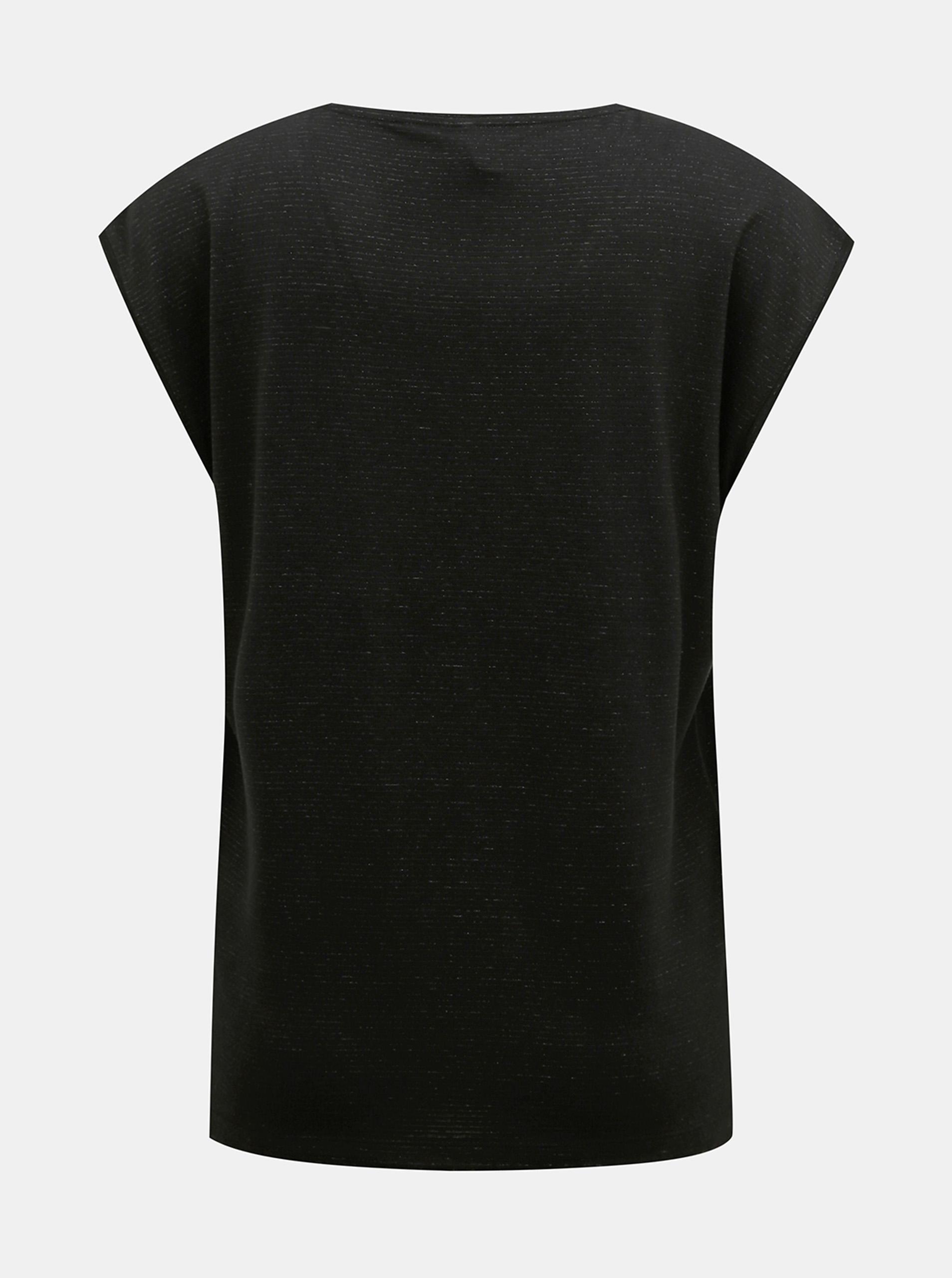 Čierne tričko s metalickými vláknami Pieces
