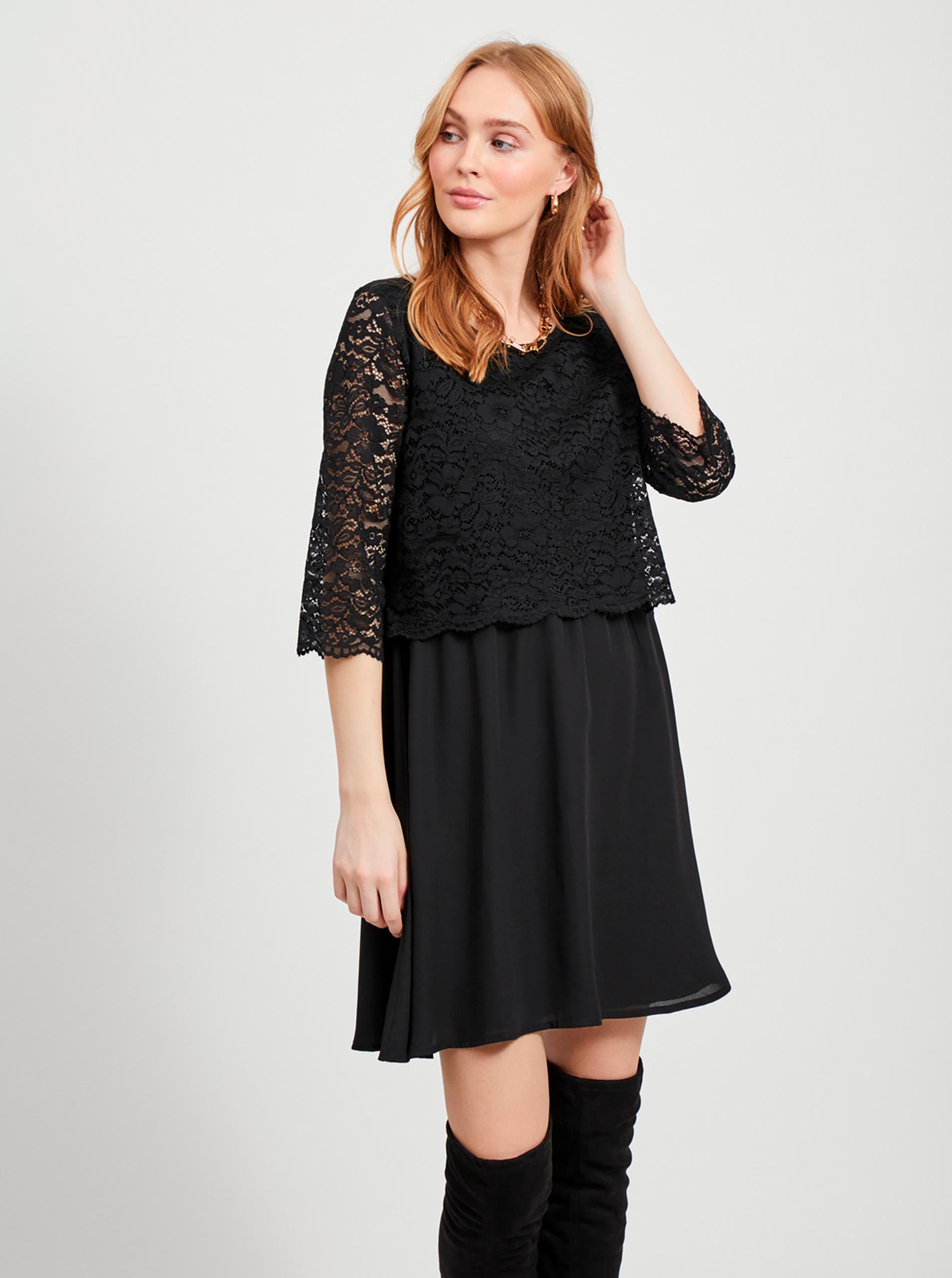 Čierne šaty s čipkou VILA lovia - XL