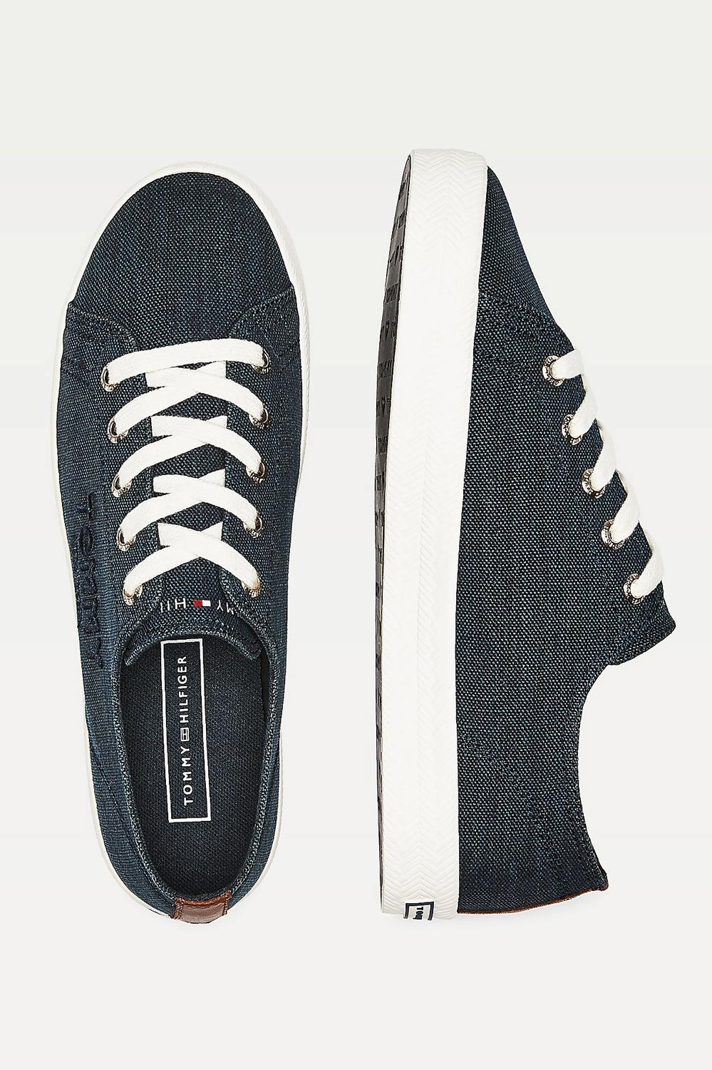 Tommy Hilfiger tmaovmodré tenisky Logo Embroidery Low Top Trainers