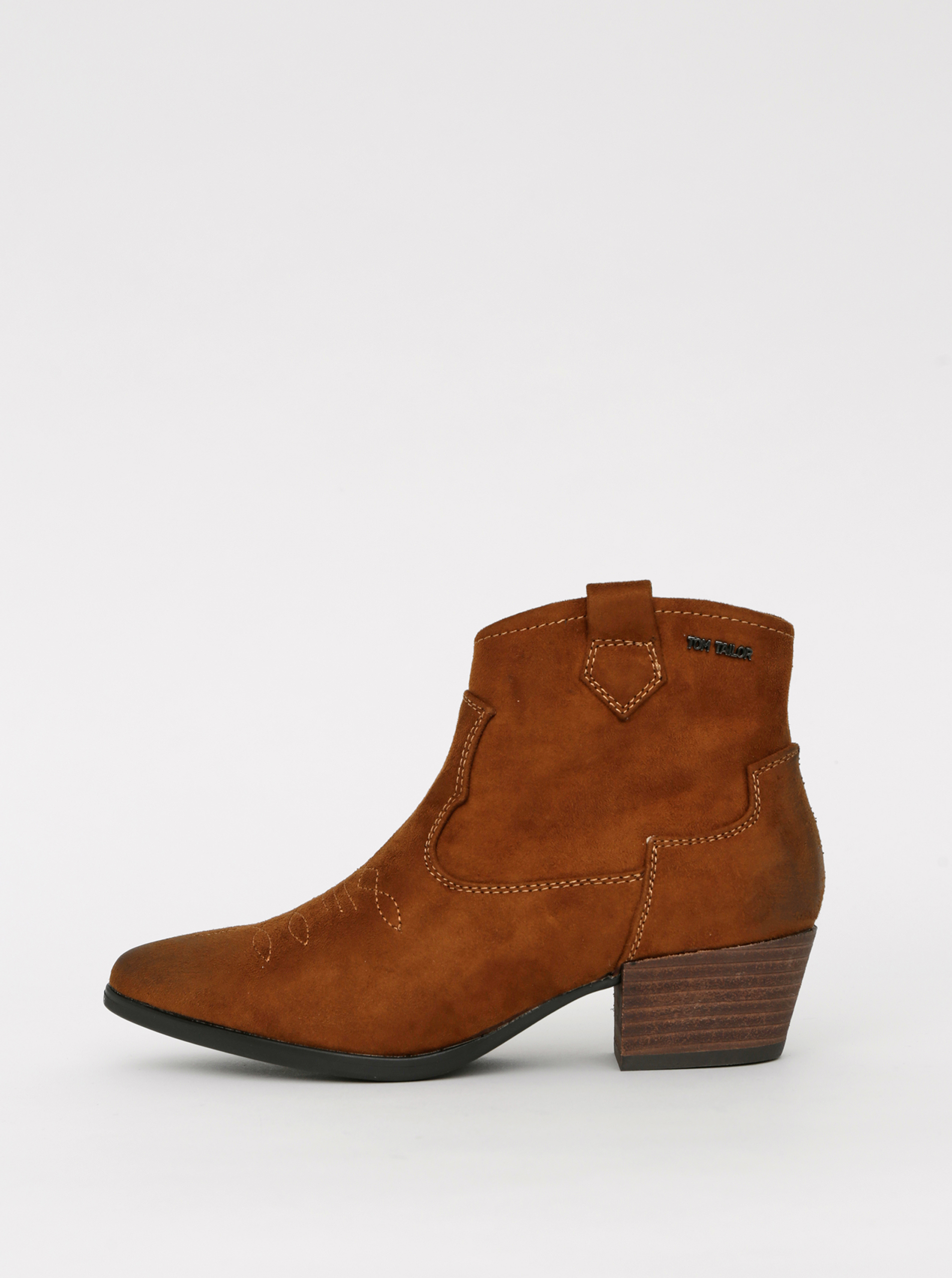 Hnedé dámske členkové topánky v semišové úprave Tom Tailor - 38