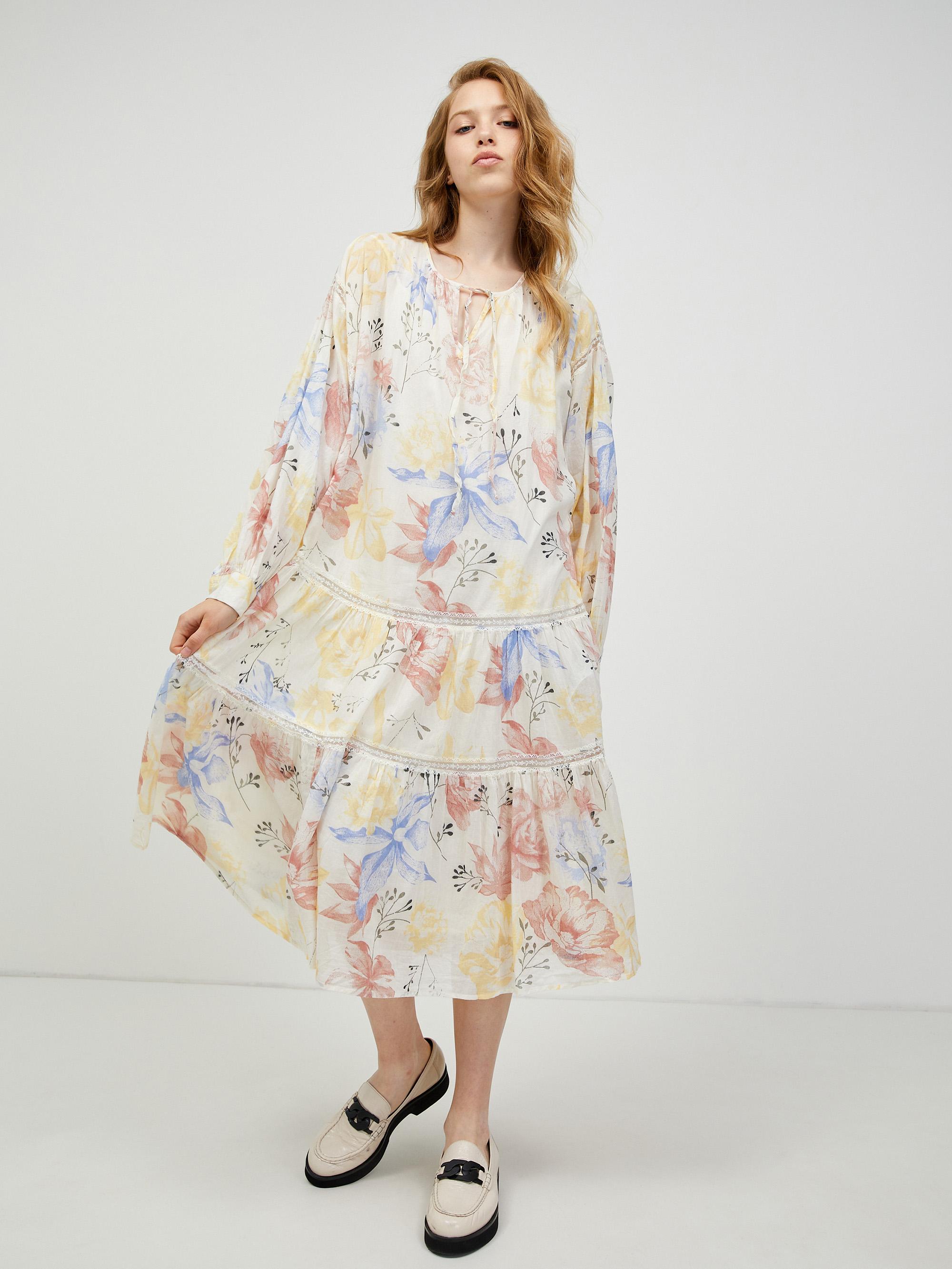 Krémové kvetované šaty VERO MODA Sally - S