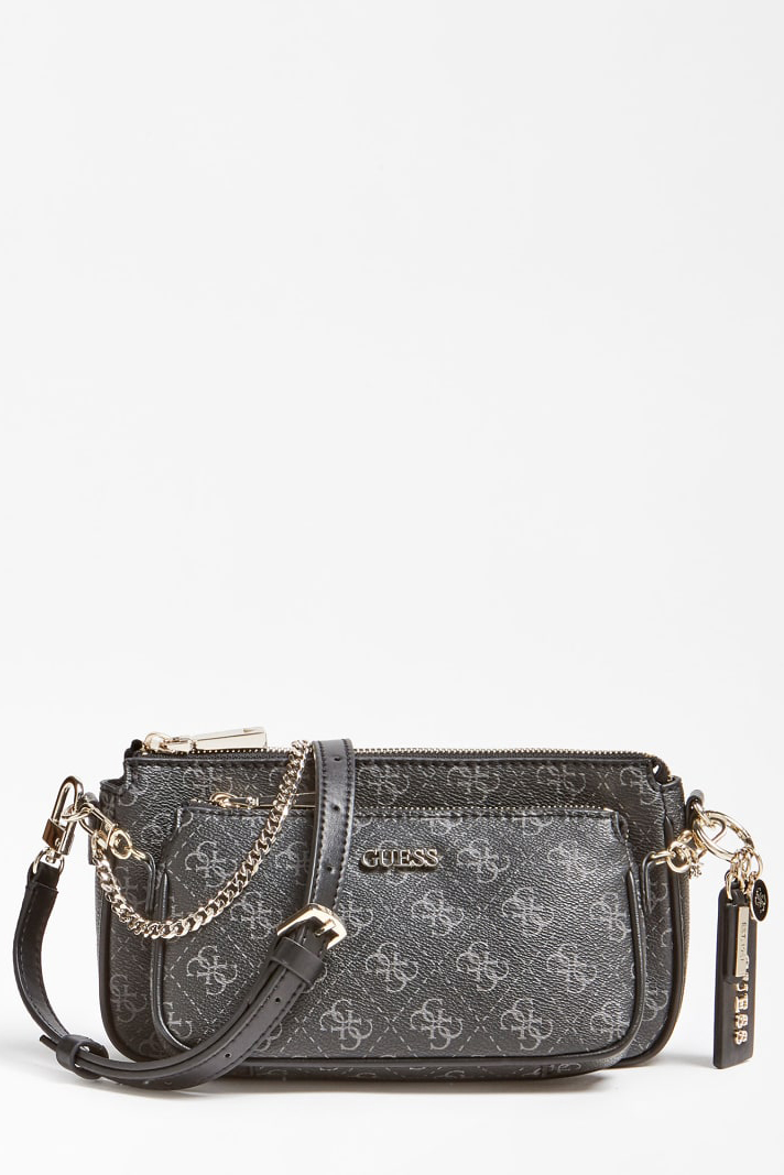 Guess čierne crossbody kabelka Arie Crossbody 4G Logo All Over
