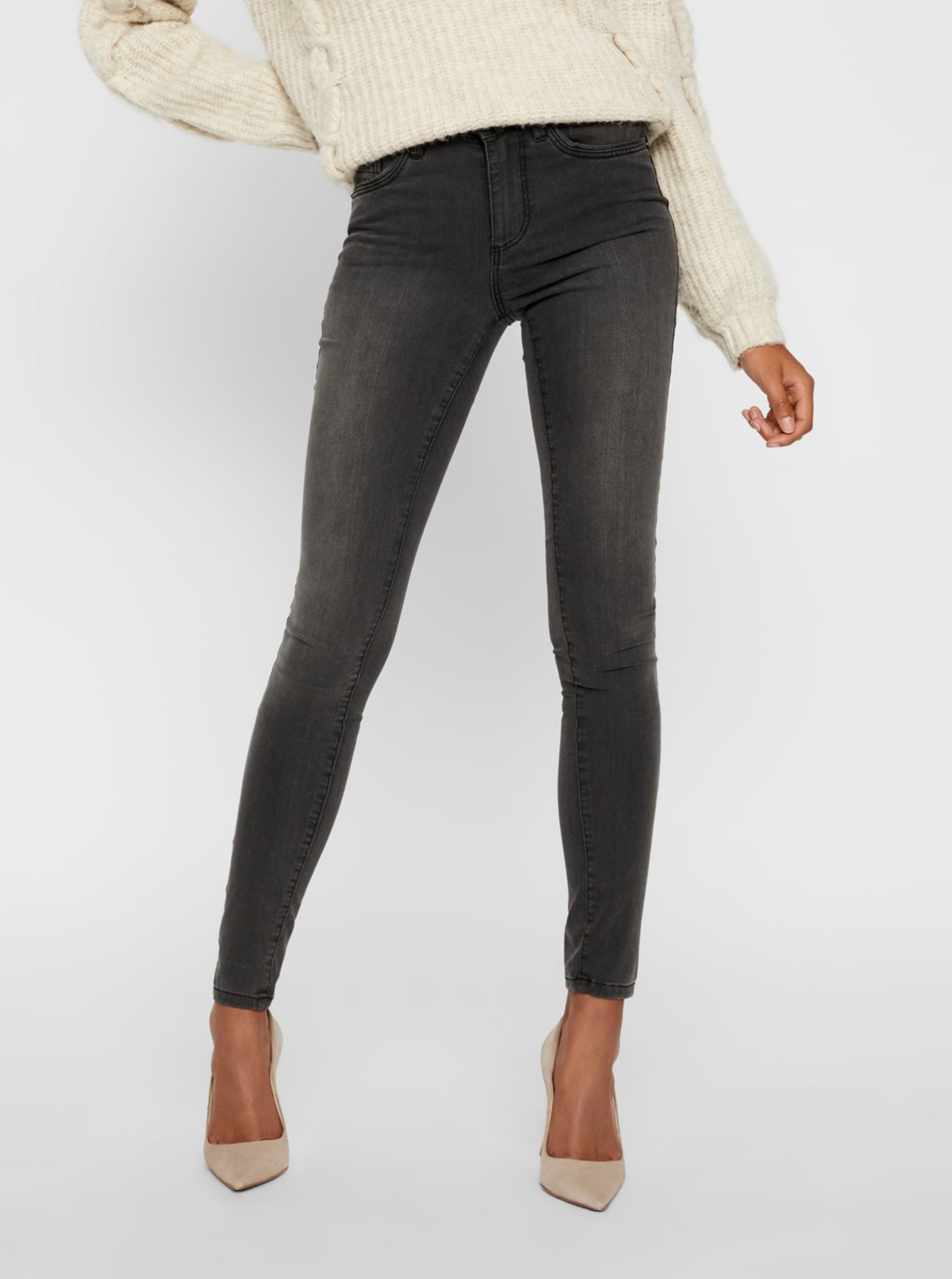 Tmavo šedé skinny fit džínsy VERO MODA Tanya - XL