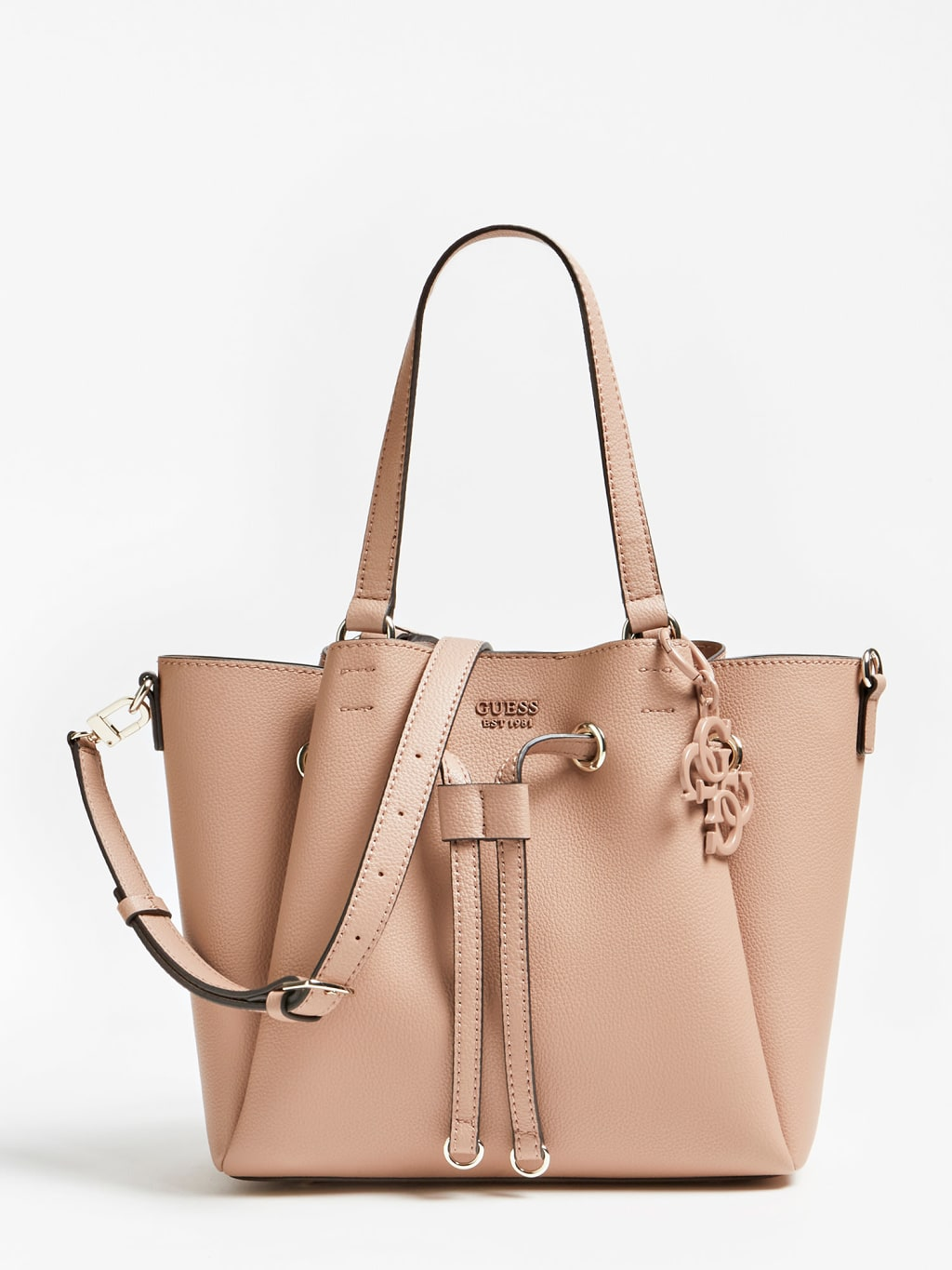 Guess púdrová kabelka Digital Logo Charm Shoulder bag