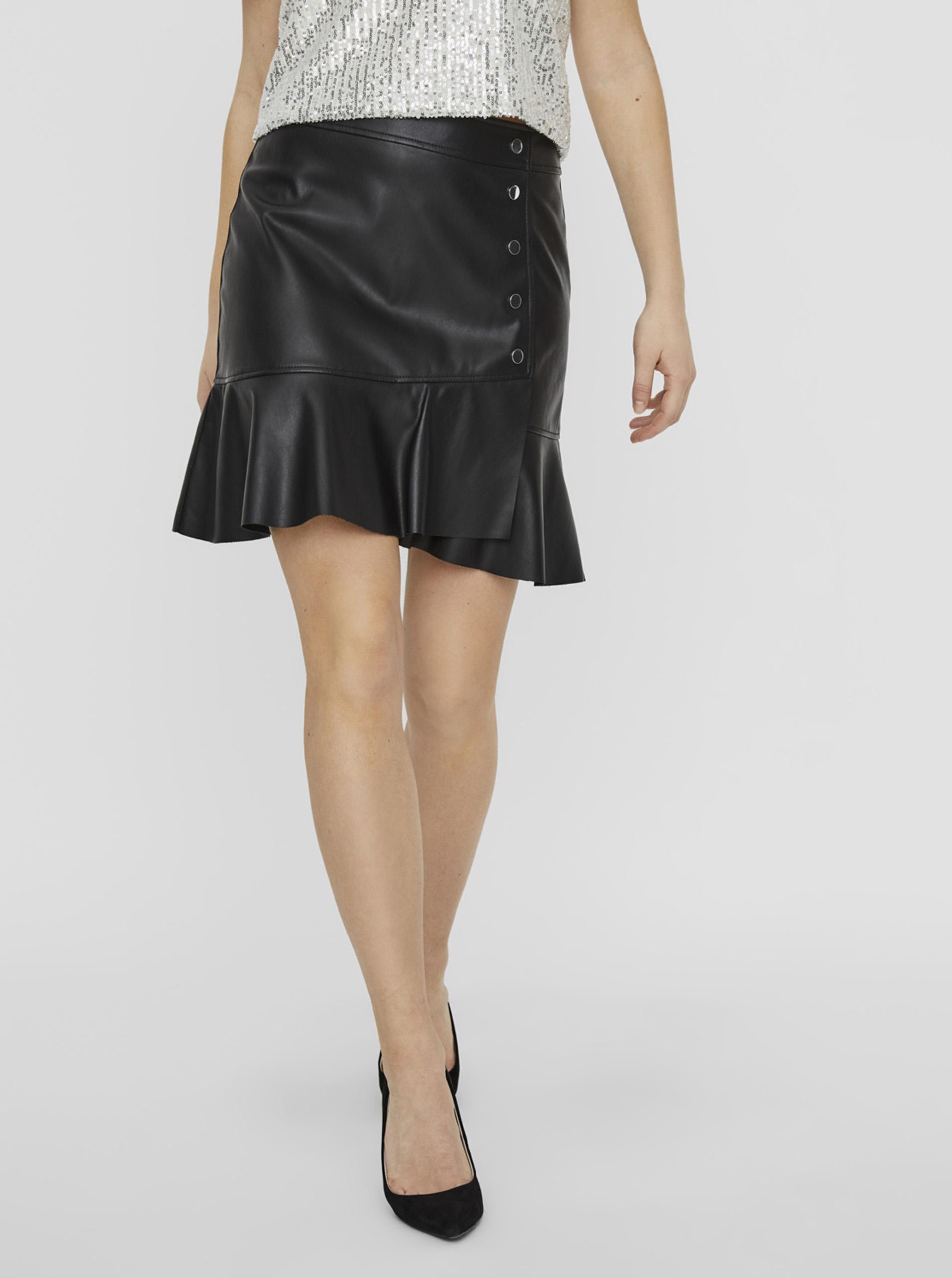 Vero Moda čierna koženková sukňa Liv - XL