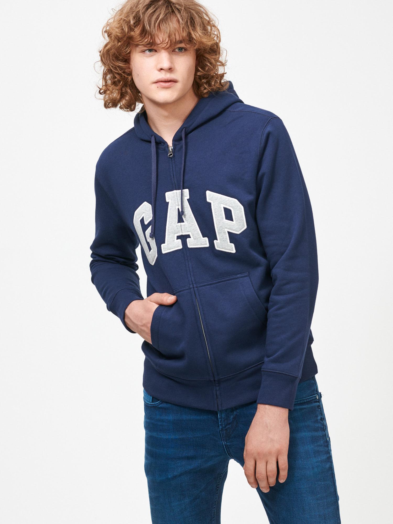 GAP modrá pánska mikina s kapucňou - XL