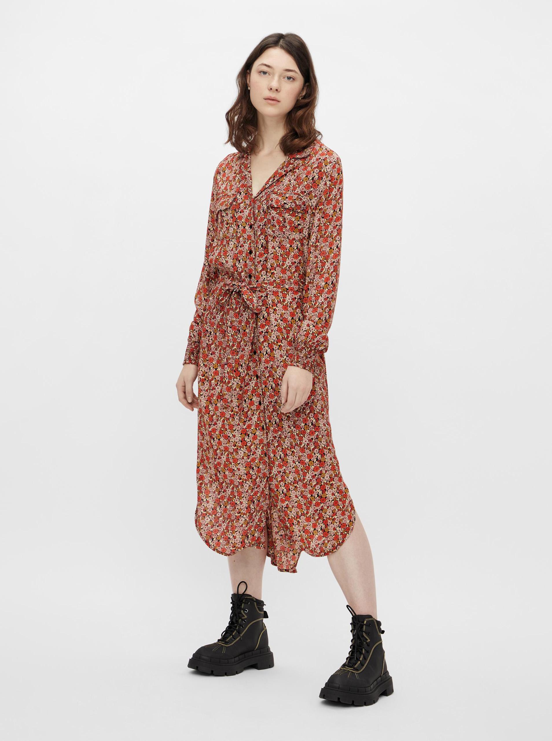 Pieces červené košeľové midi šaty - L