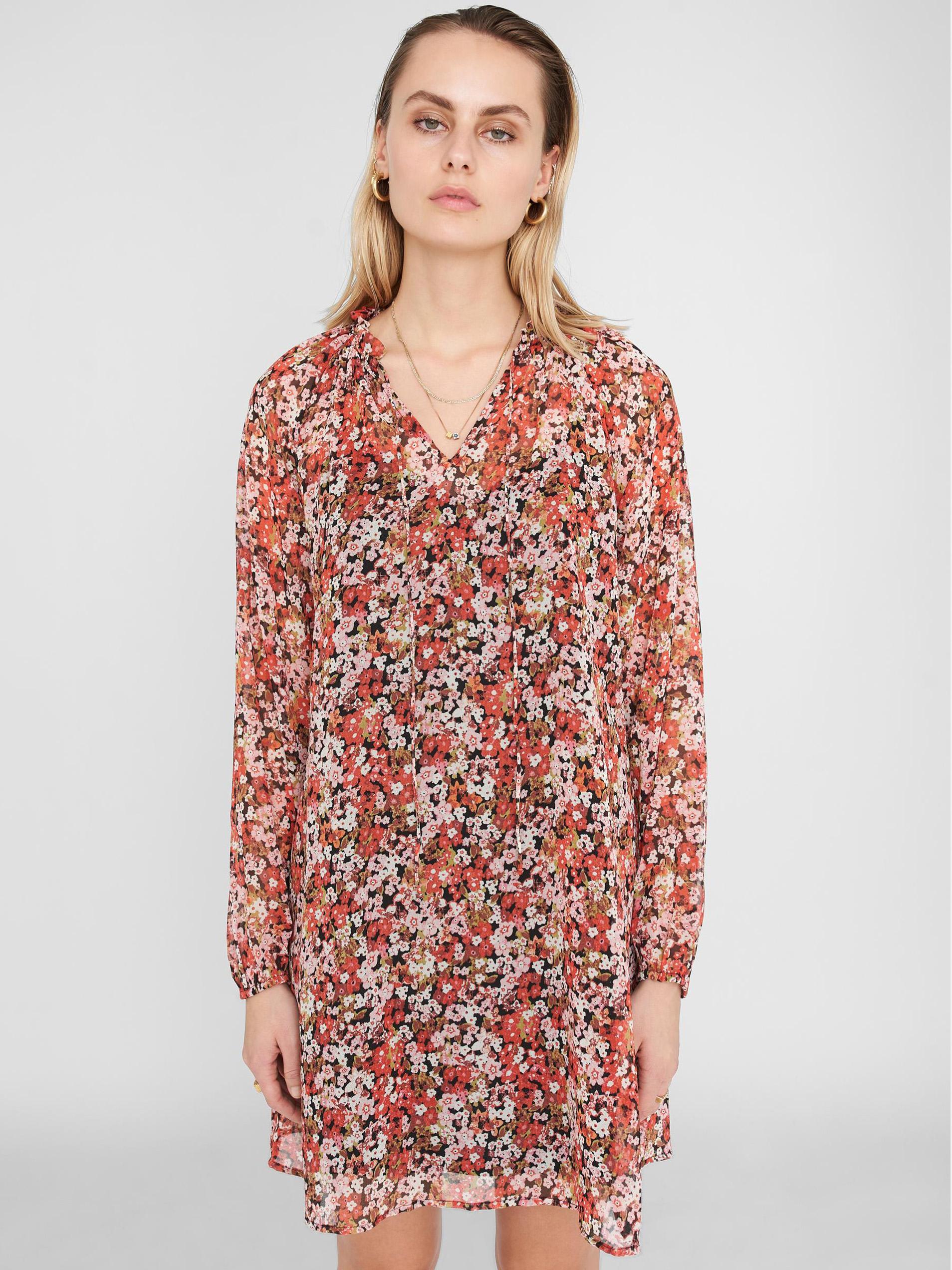 Noisy May oranžové šaty so vzormi - L
