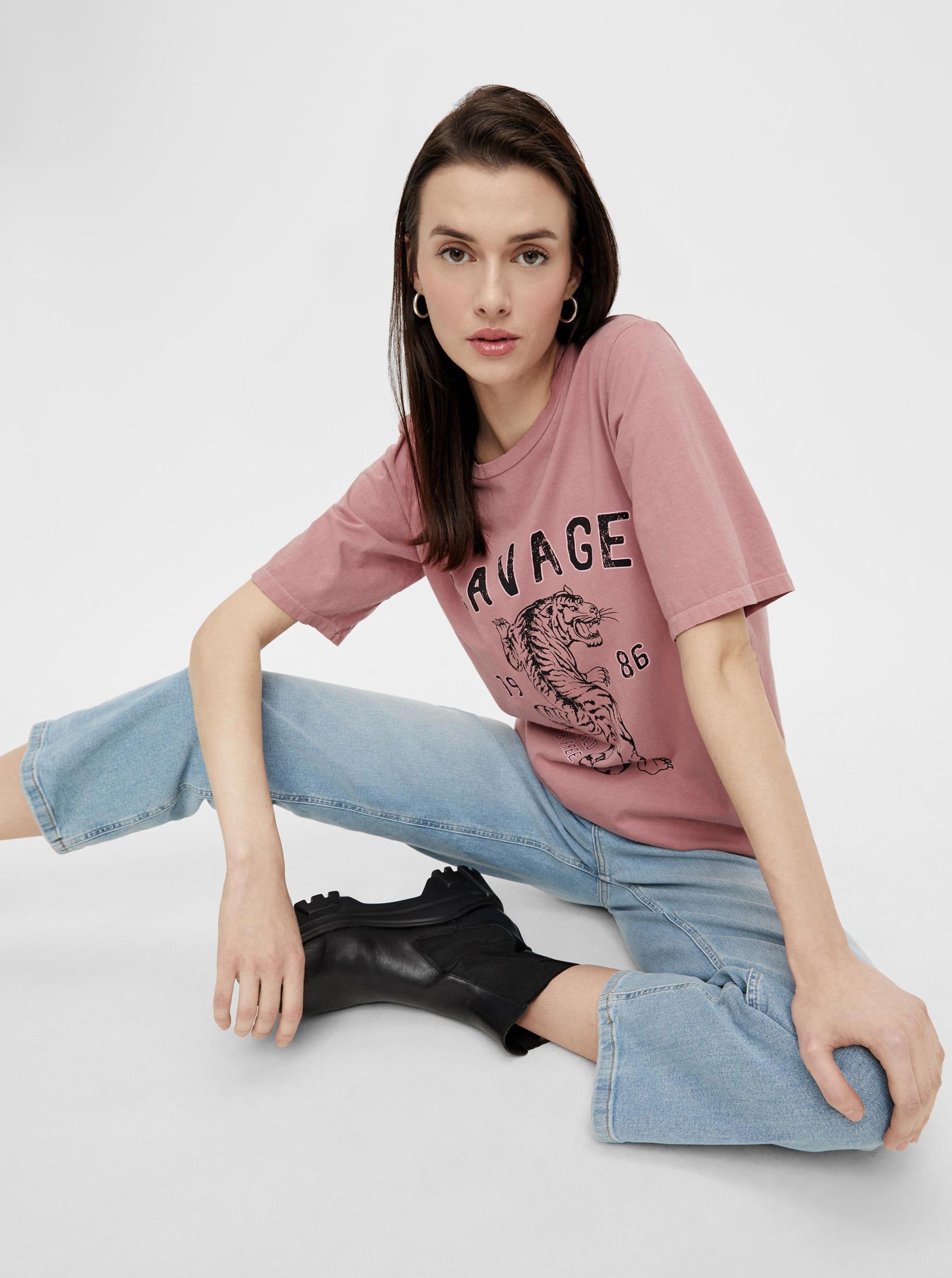 Pieces ružové dámske tričko s potlačou - M