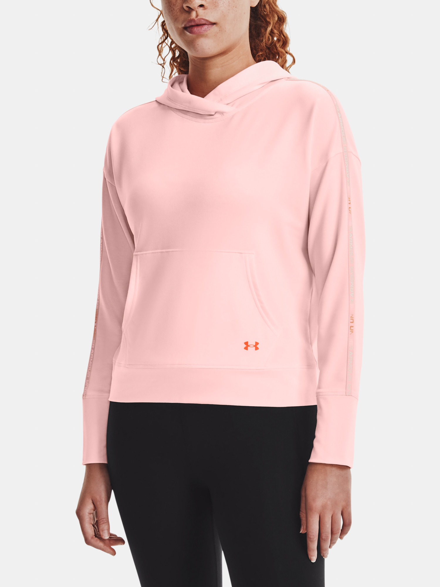 Mikina Under Armour Rival Terry Taped Hoodie-PNK - XS