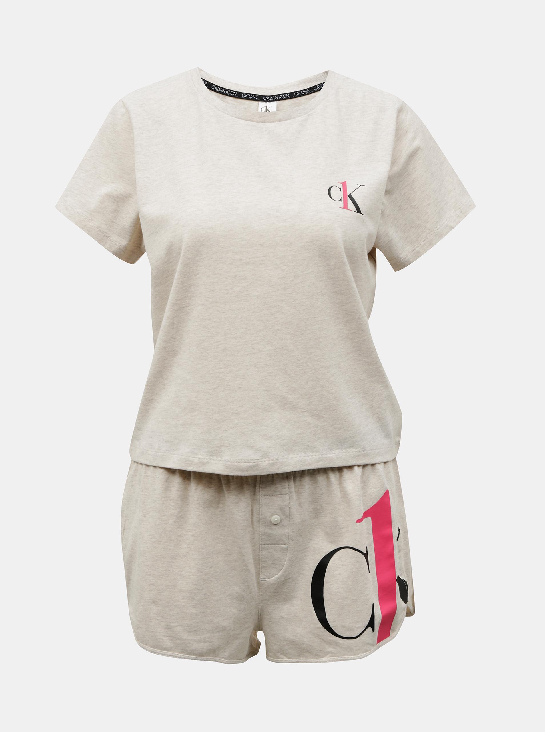 Calvin Klein sivé pyžamo S/S Short set - XS