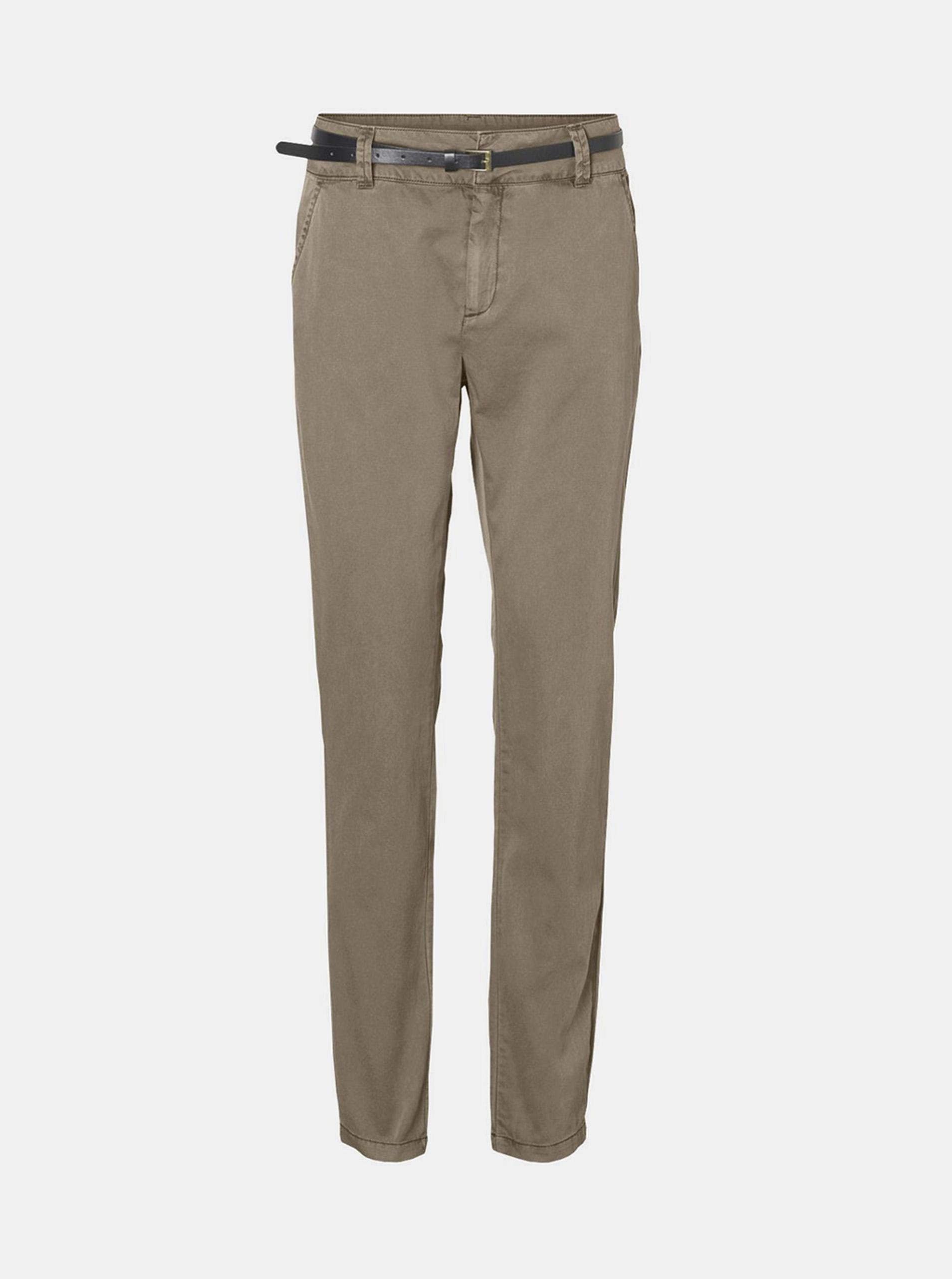 Vero Moda béžové nohavice Flash s opaskom - XS