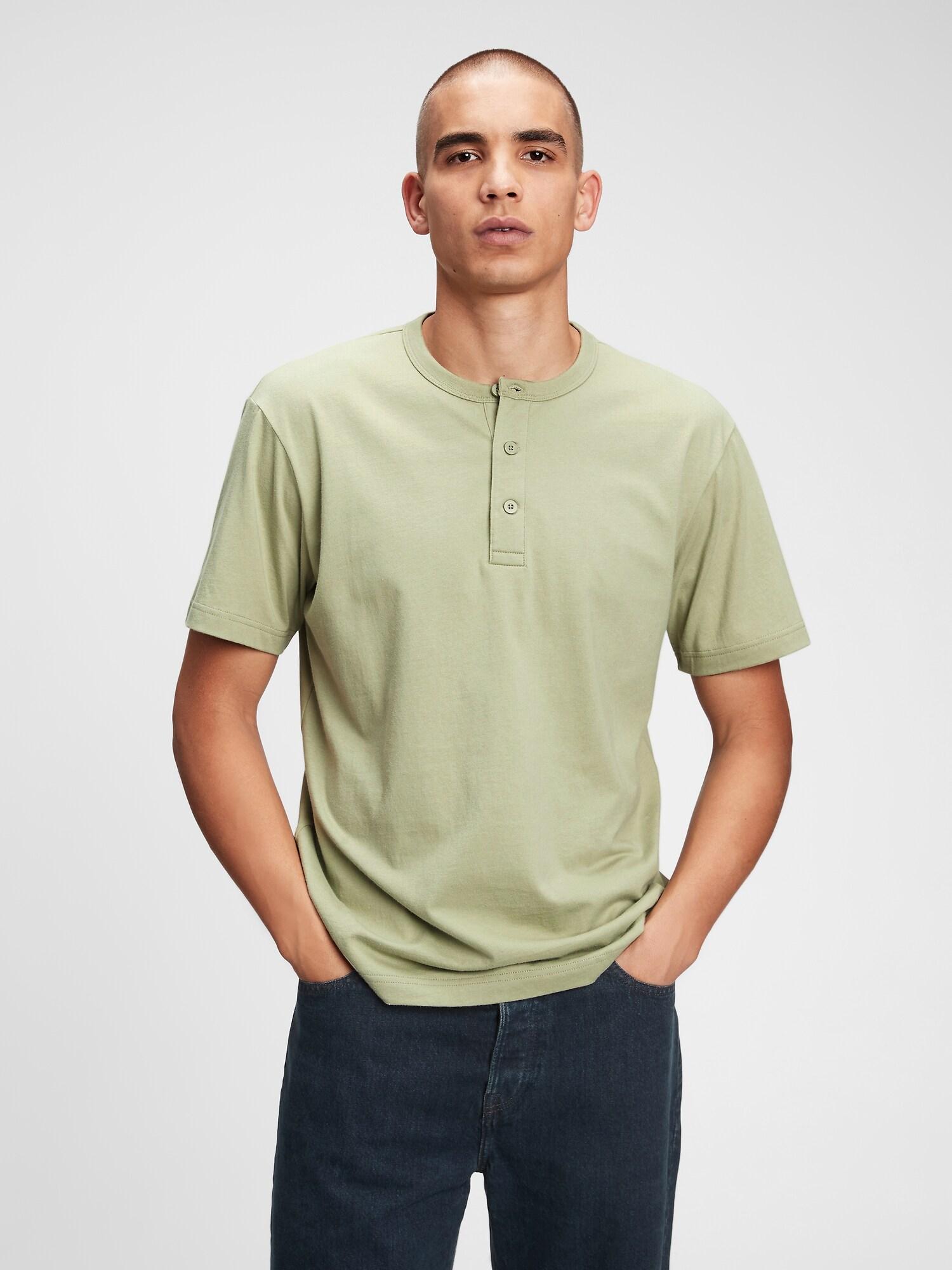 GAP zelené pánske tričko Henley - XS